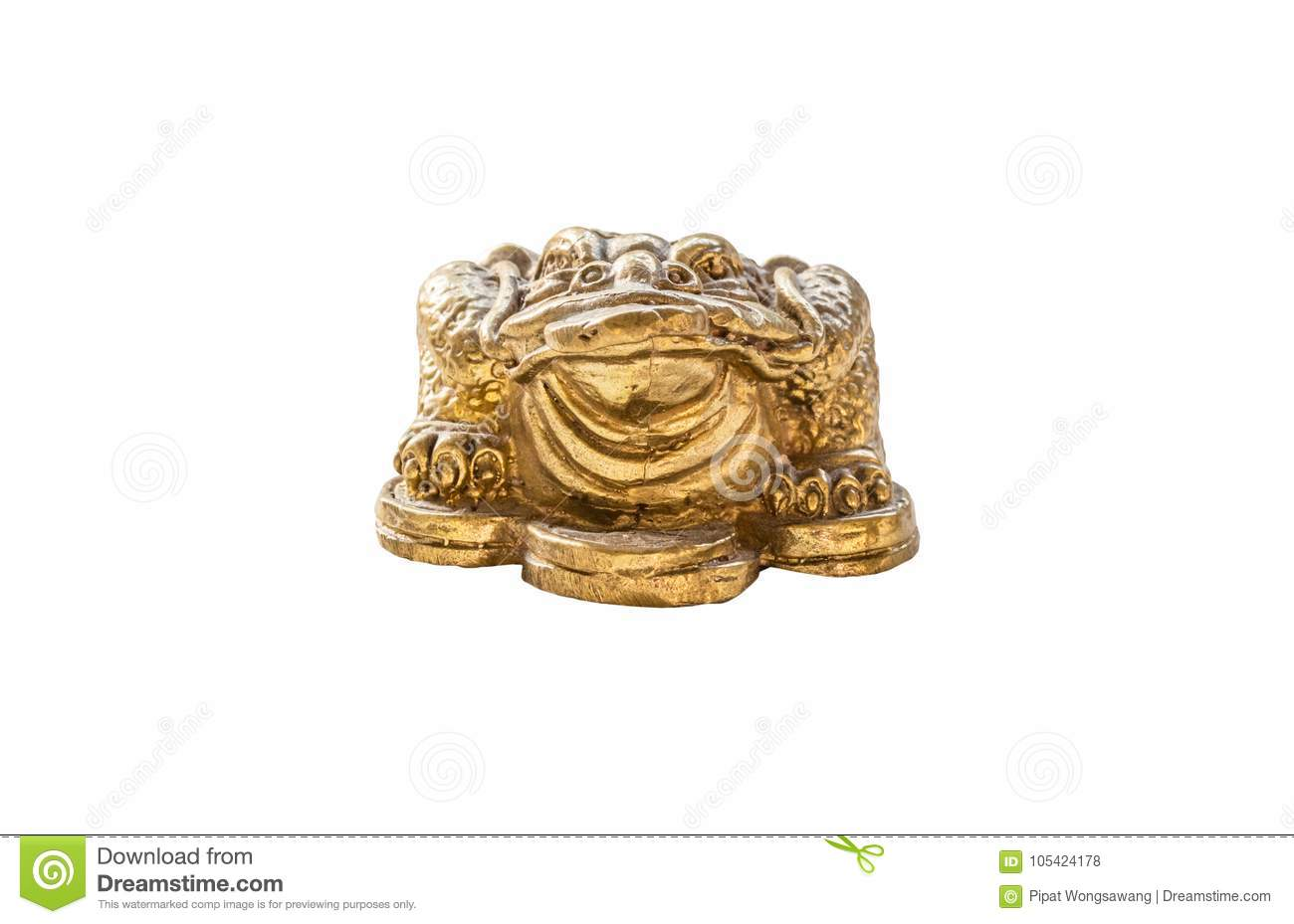 Cash mascot - Chan Chu - a gold frog figurine sitting on coins.isolated on white background