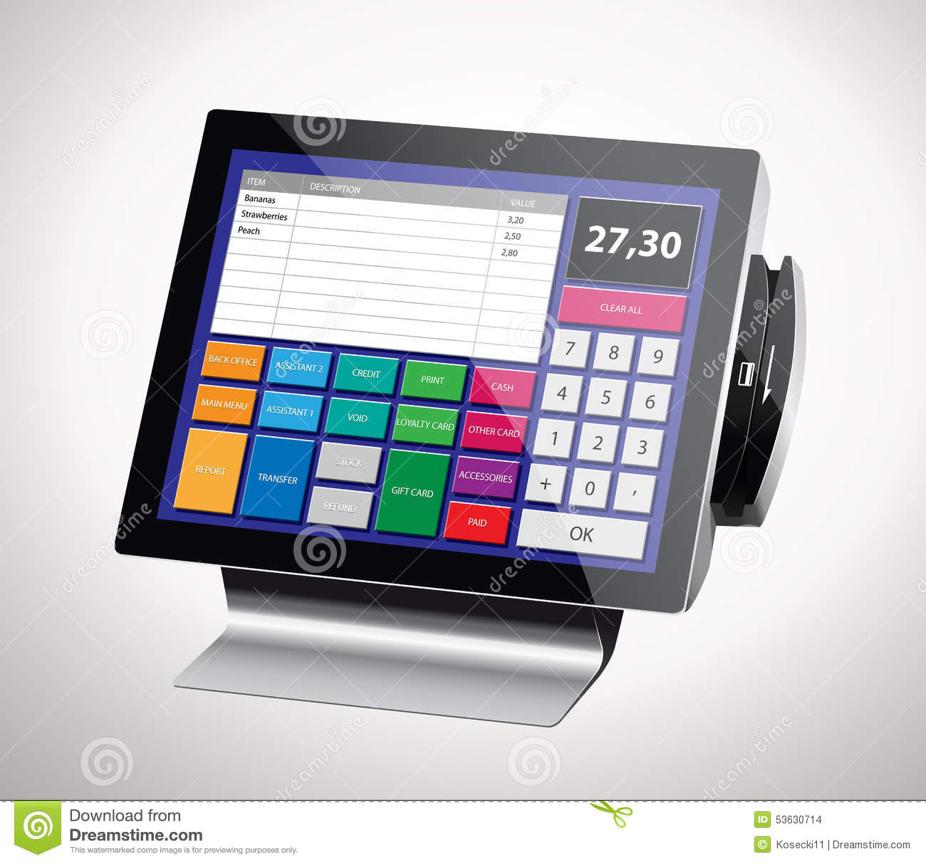 cash register stock vector  illustration of button