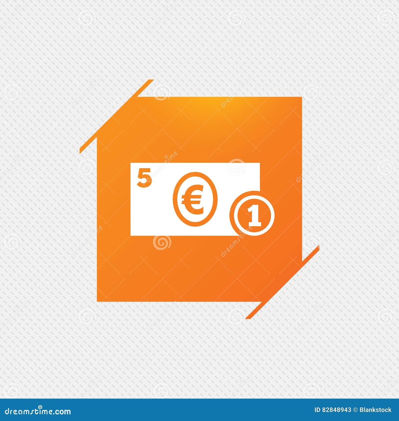 Cash Sign Icon Euro Money Symbol Coin Stock Vector Illustration