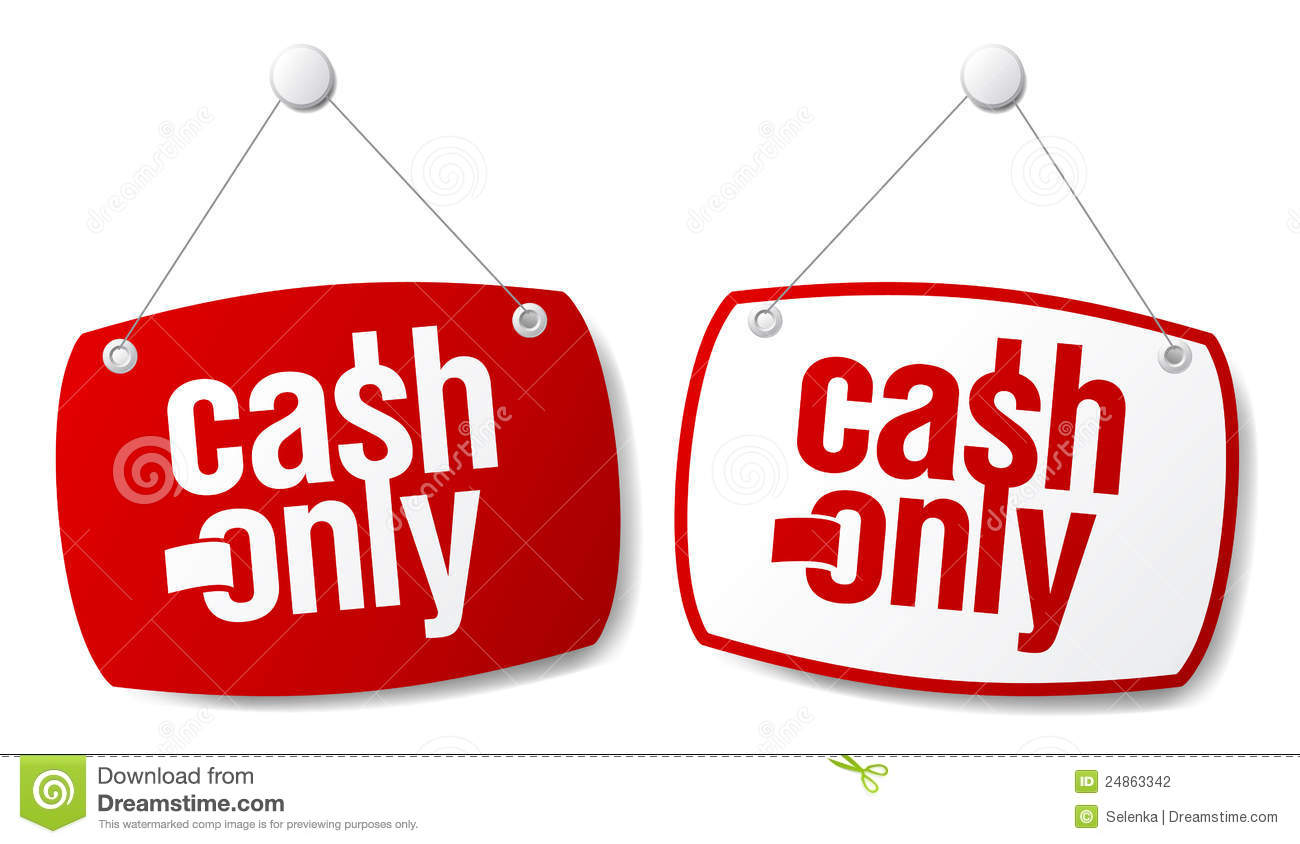 cash only signs stock photography   image 24863342