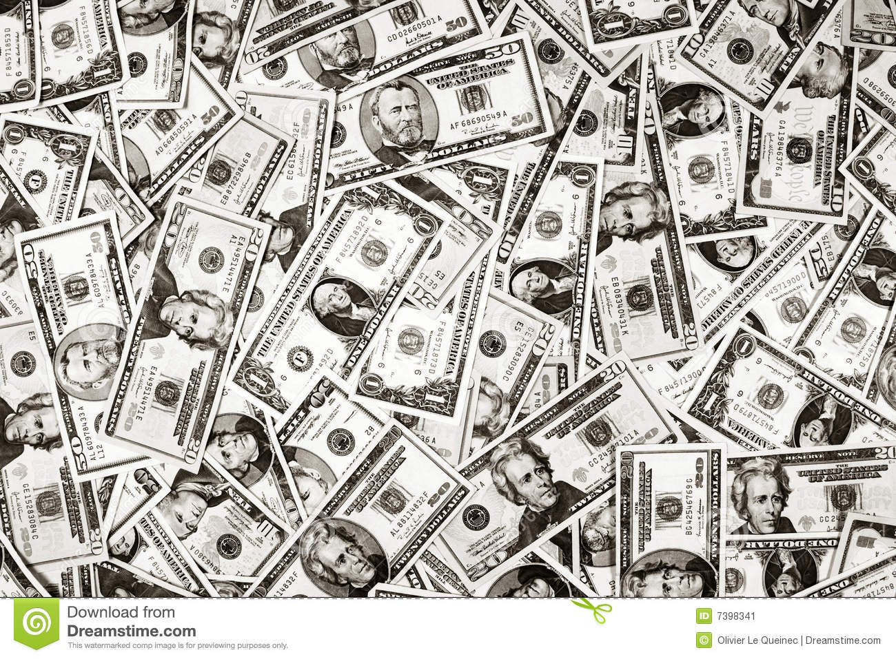 ... US money dollar bills banknotes as a black and white background