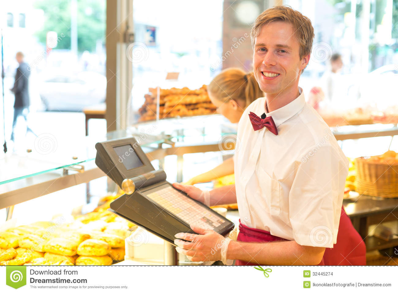 Cashier In Baker's Shop Posing With Cash Register Stock Images - Image ...