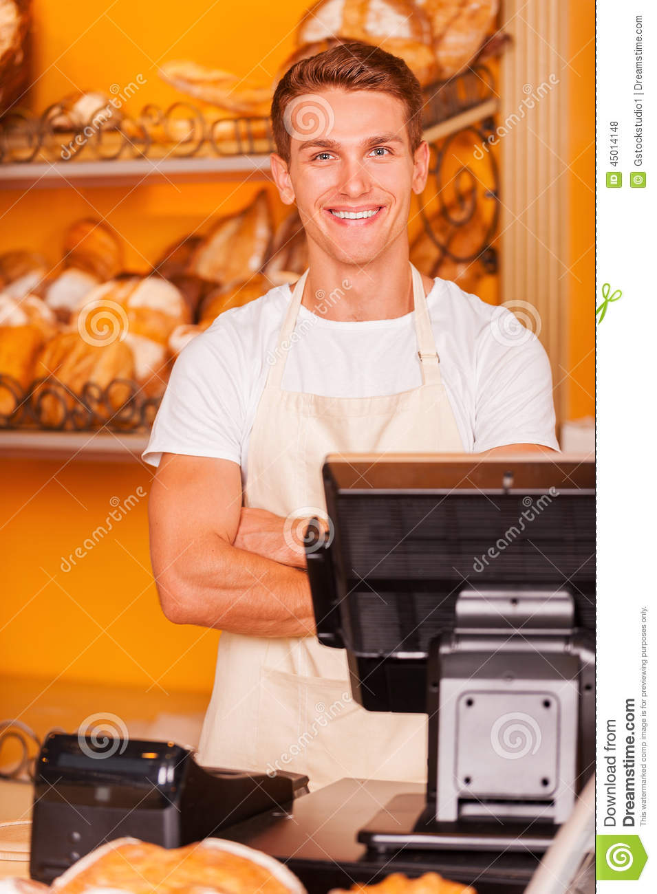 Cashier In Bakery Shop Stock Photo Image 45014148