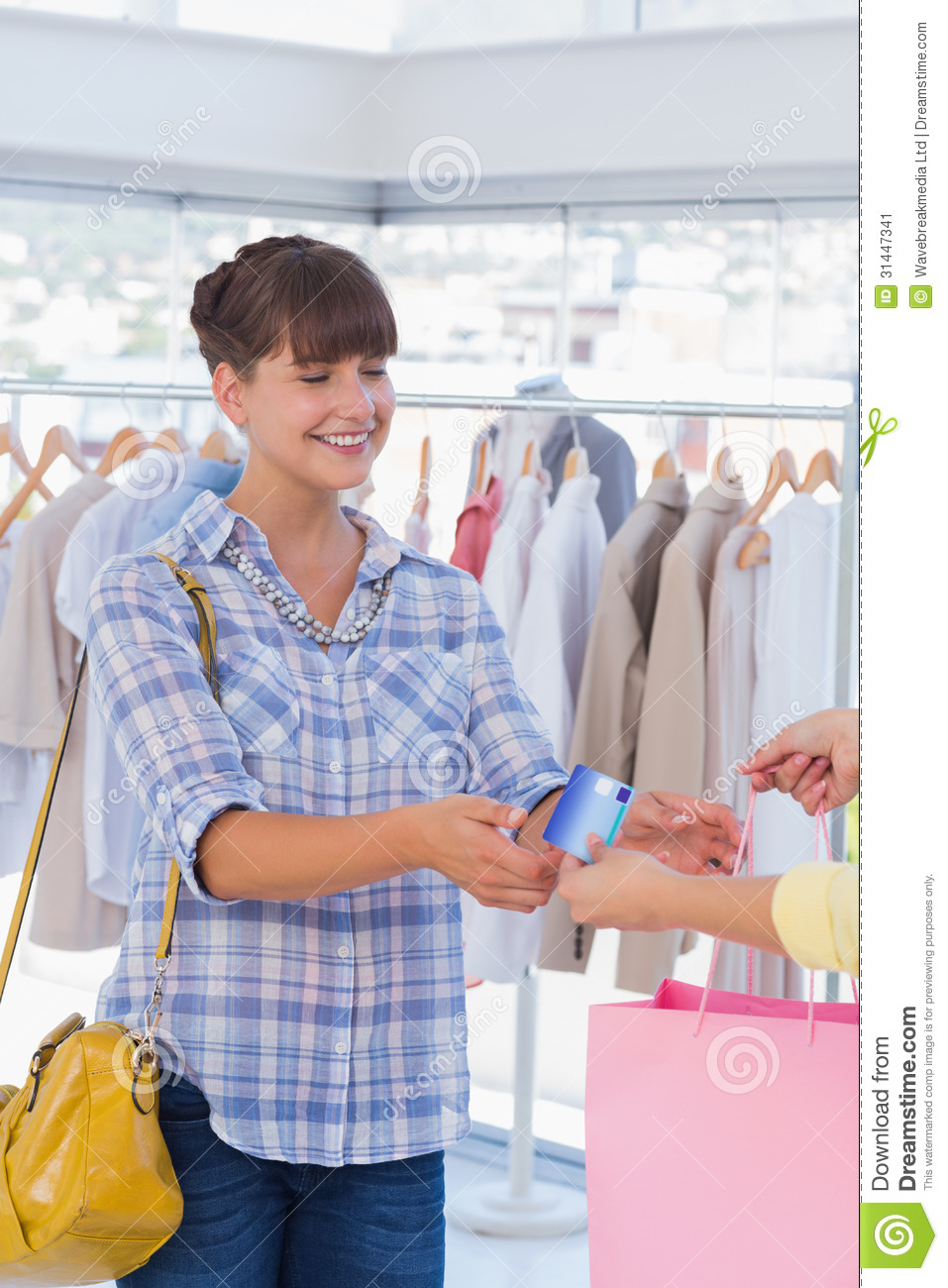 Cashier Giving Shopping Bag And Credit Card Stock Image - Image ...