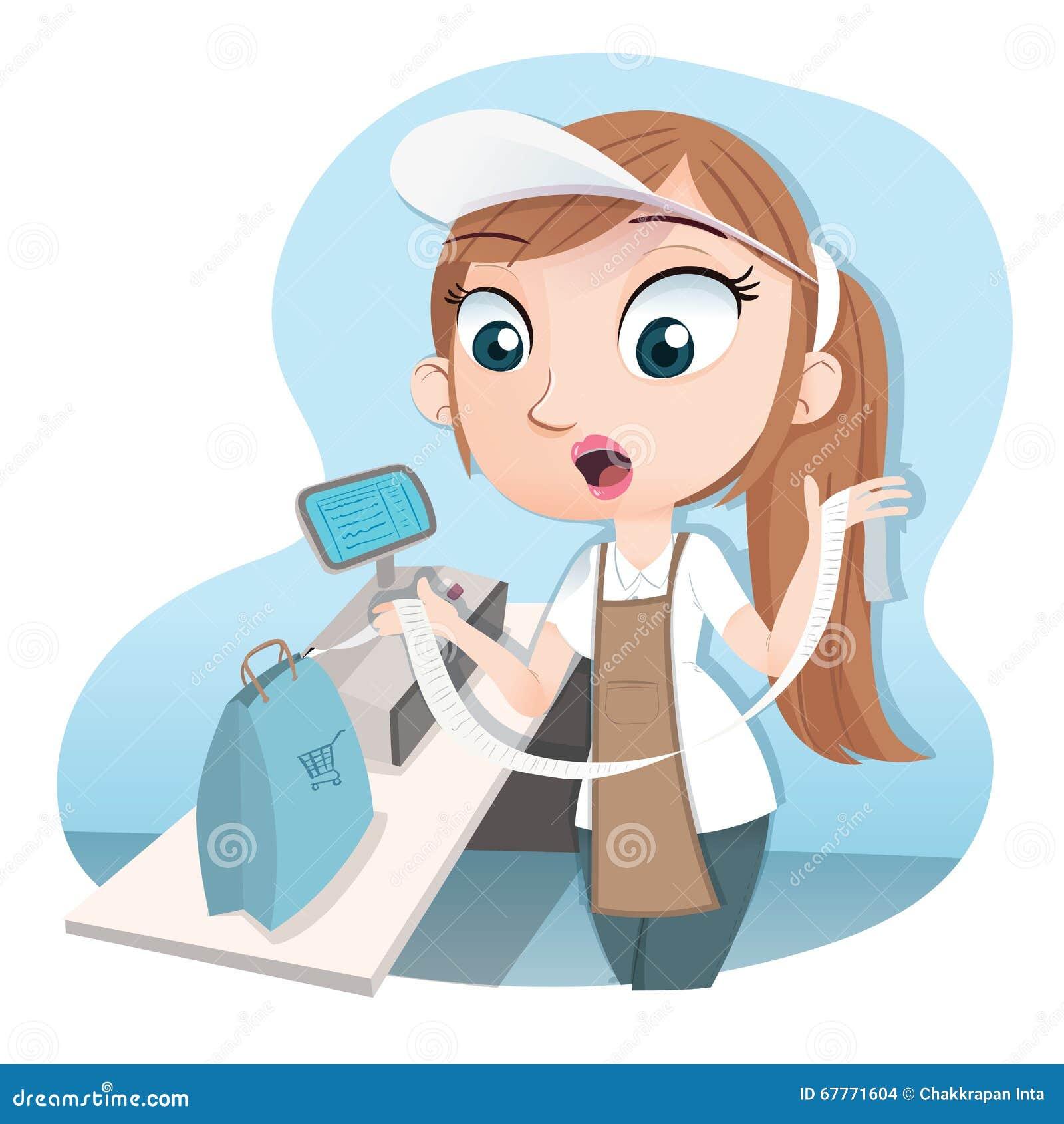 cashier holding long receipt stock vector   image 67771604