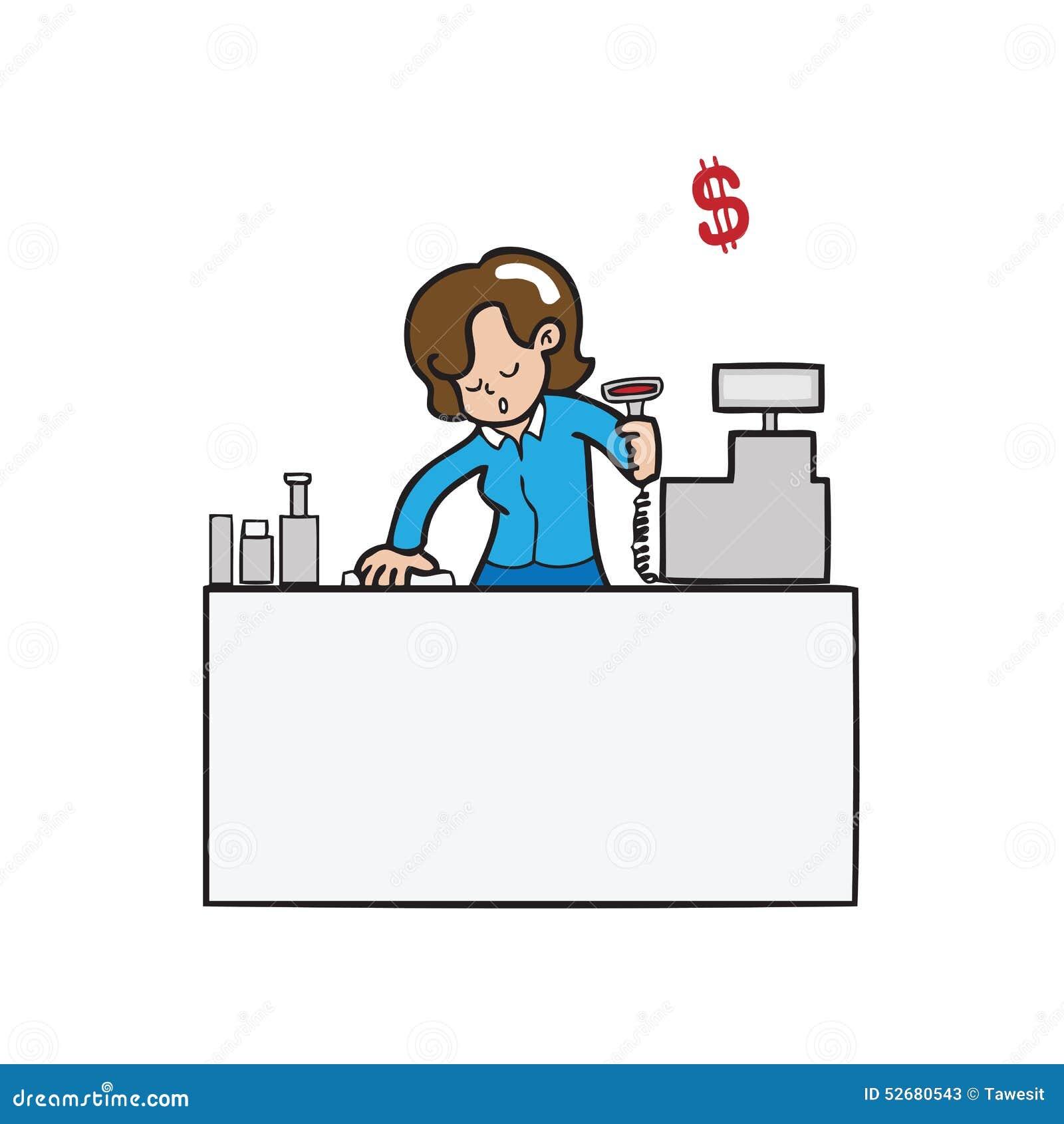 Cashier Cartoons: Cashier Spermarket Cartoon Vector