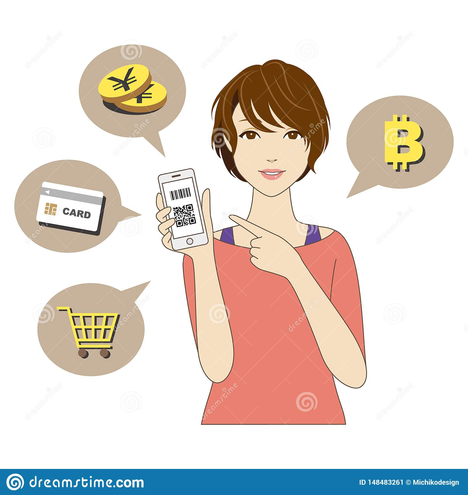 Cashless and Smartphone payment image, a woman holding a smartphone