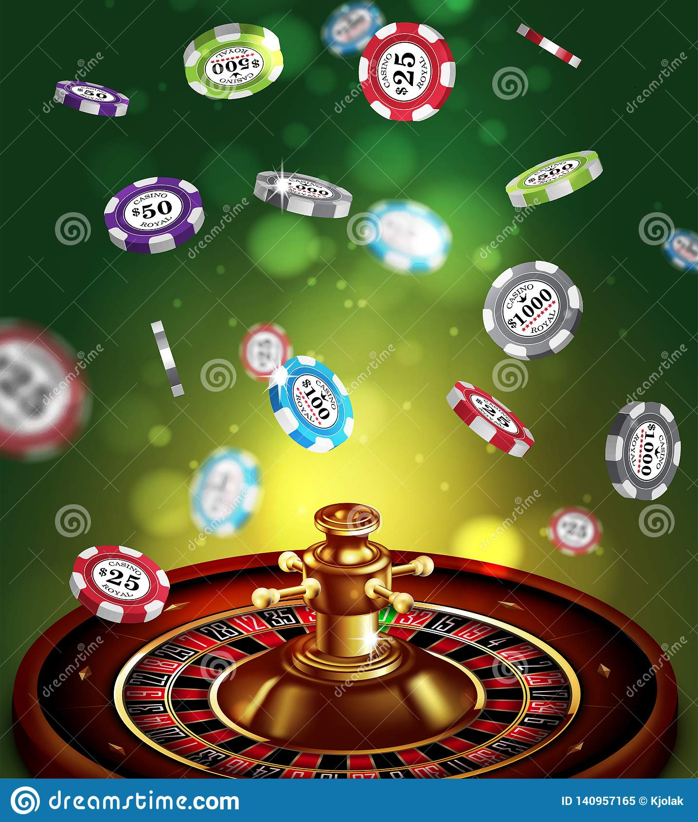 Casino advertising with roulette and elements of casino games on a green background. 3D vector. High detailed realistic