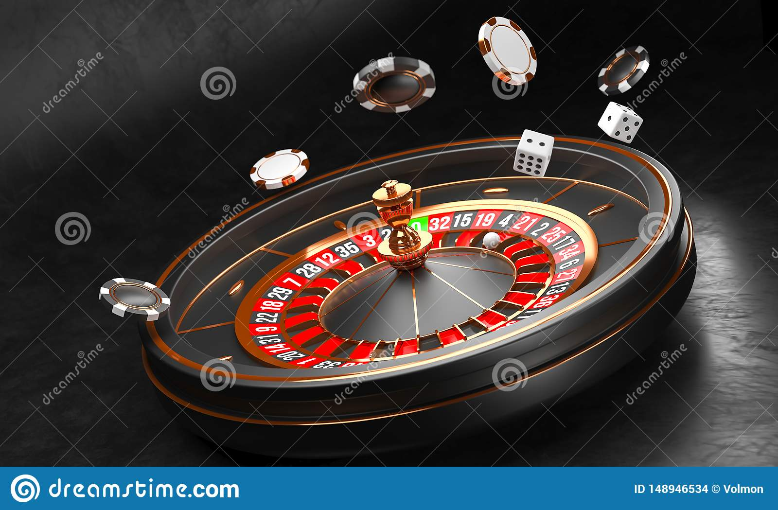 Casino background. Luxury Casino roulette wheel on black background. Casino theme. Close-up white casino roulette with a