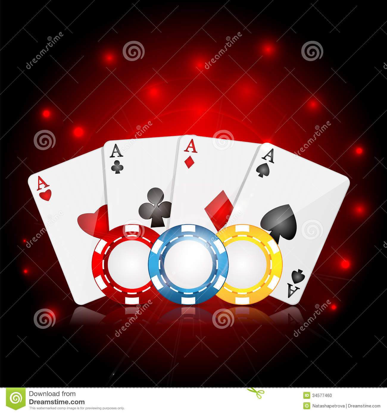 Playing cards and poker chips on a red sparkling background.casino ...