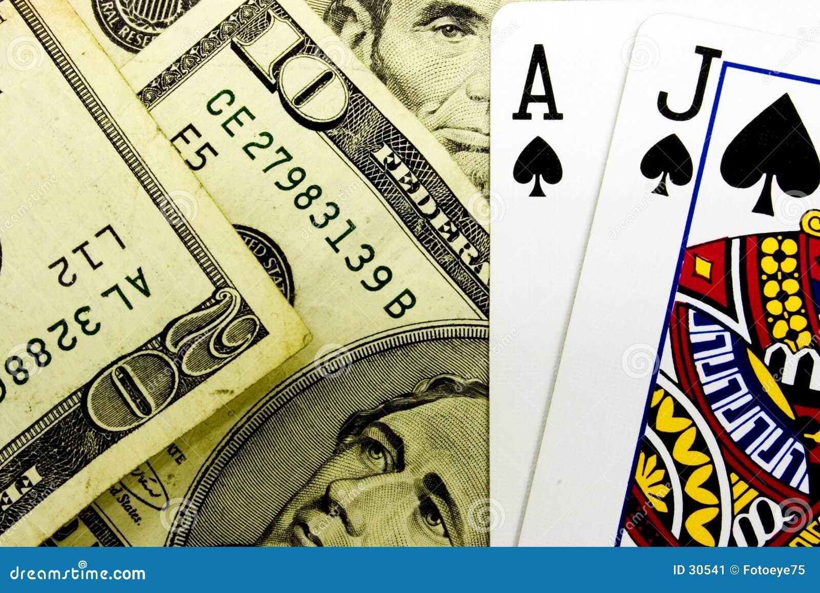 Casino Blackjack Poker Cards and Money
