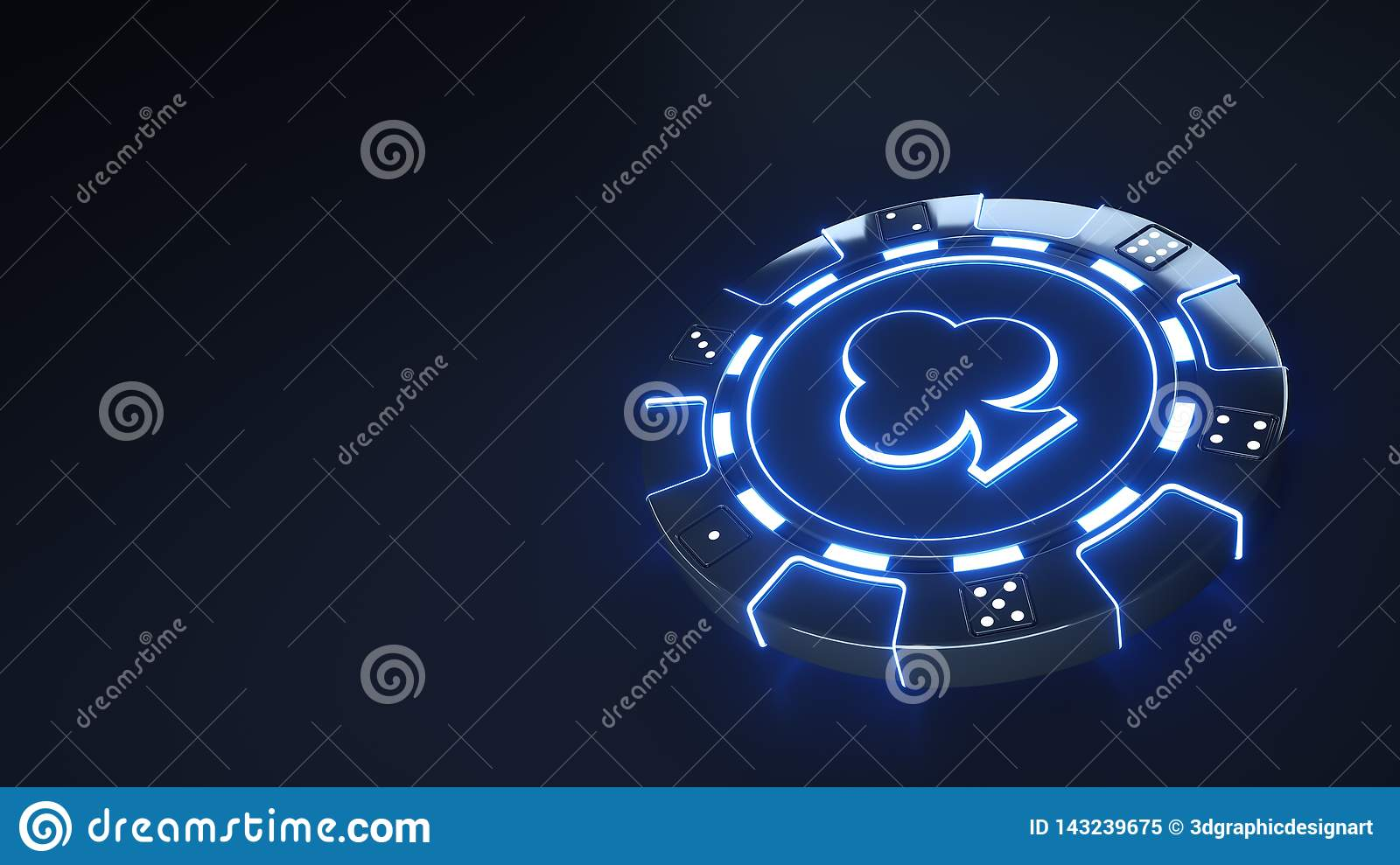 Casino Chip clubs Concept with glowing neon blue lights and Dice dots isolated on the black background - 3D Illustration