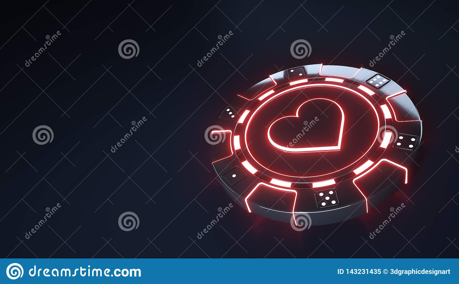 Casino Chip hearts Concept with glowing neon red lights and Dice dots isolated on the black background - 3D Illustration