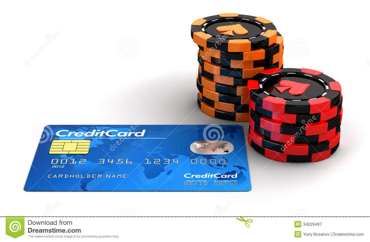 Casino chips on credit card