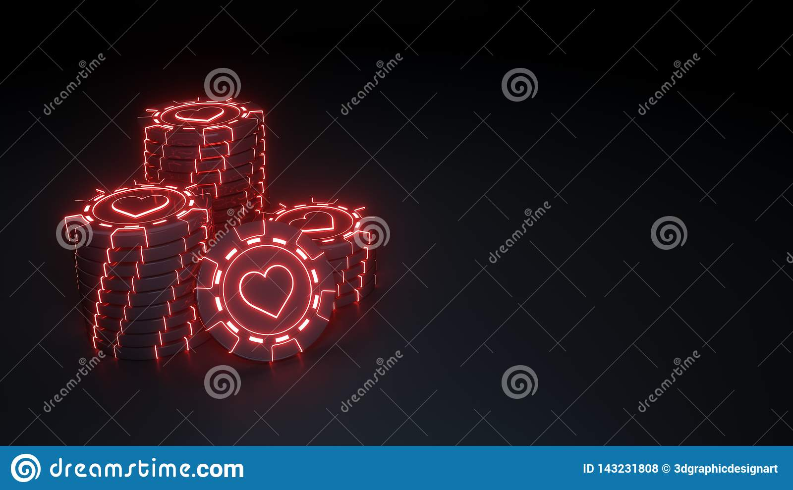 Casino chip stacks hearts Concept with glowing neon red lights on the black background - 3D Illustration