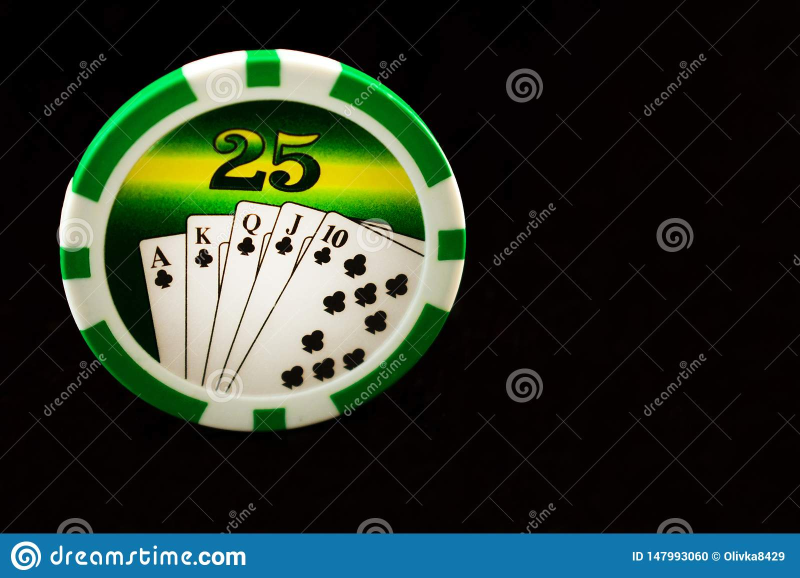 Casino chips on a black background. Gambling