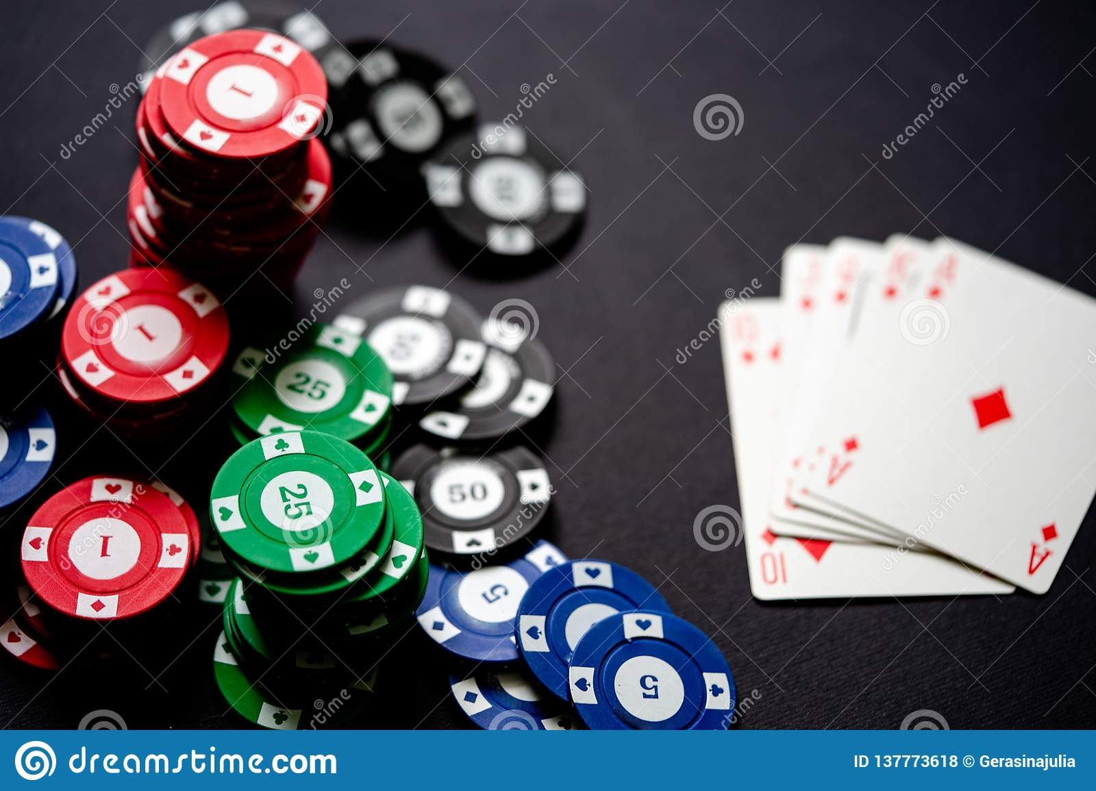 Casino Chips And Playing Cards On Minimalistic Black Background Royal Flash Stock Photo Image Of Luck Game 137773618
