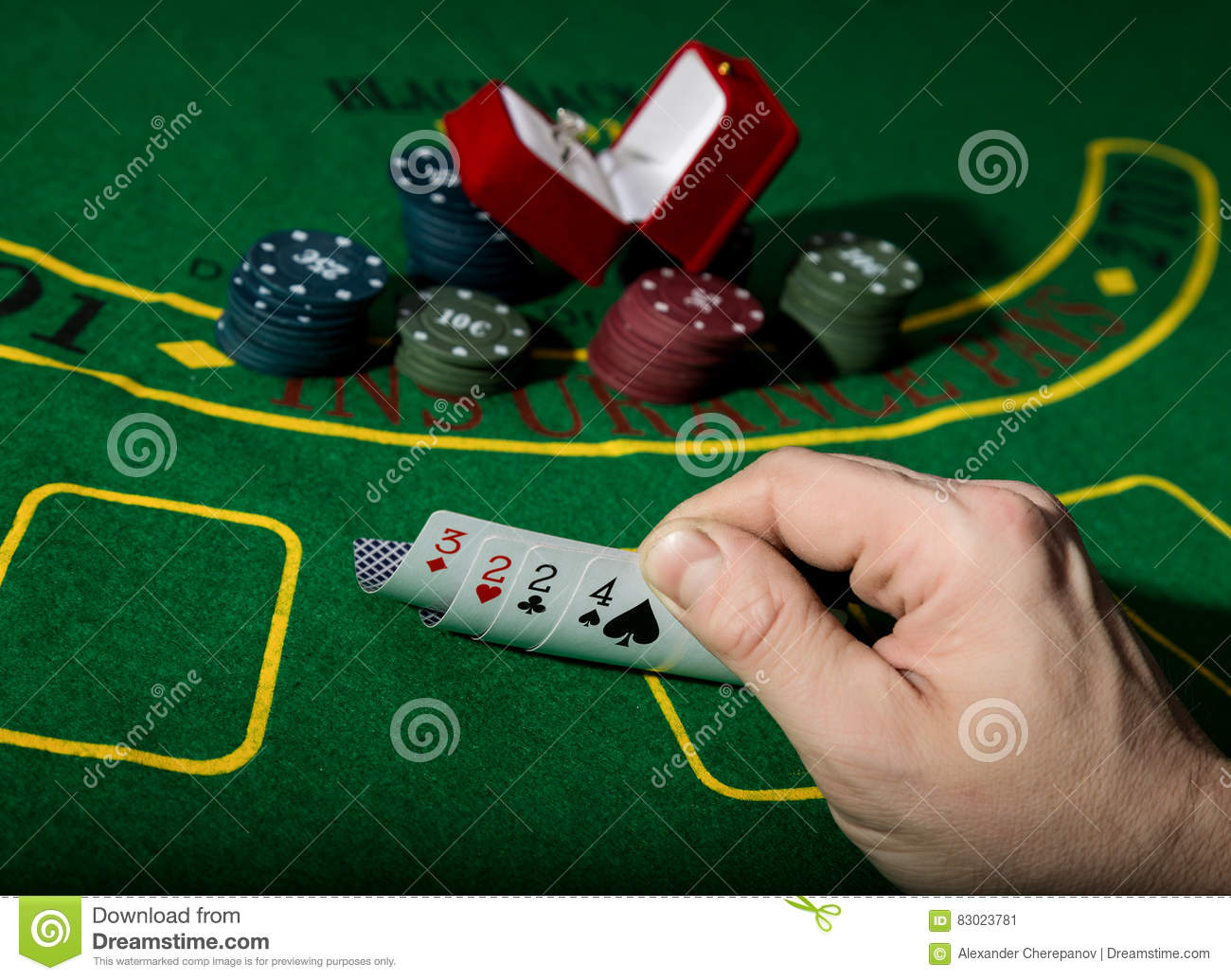 Poker table background - Casino Chips And A Precious Ring On Green Poker Table Background Man Holding Losing Combination