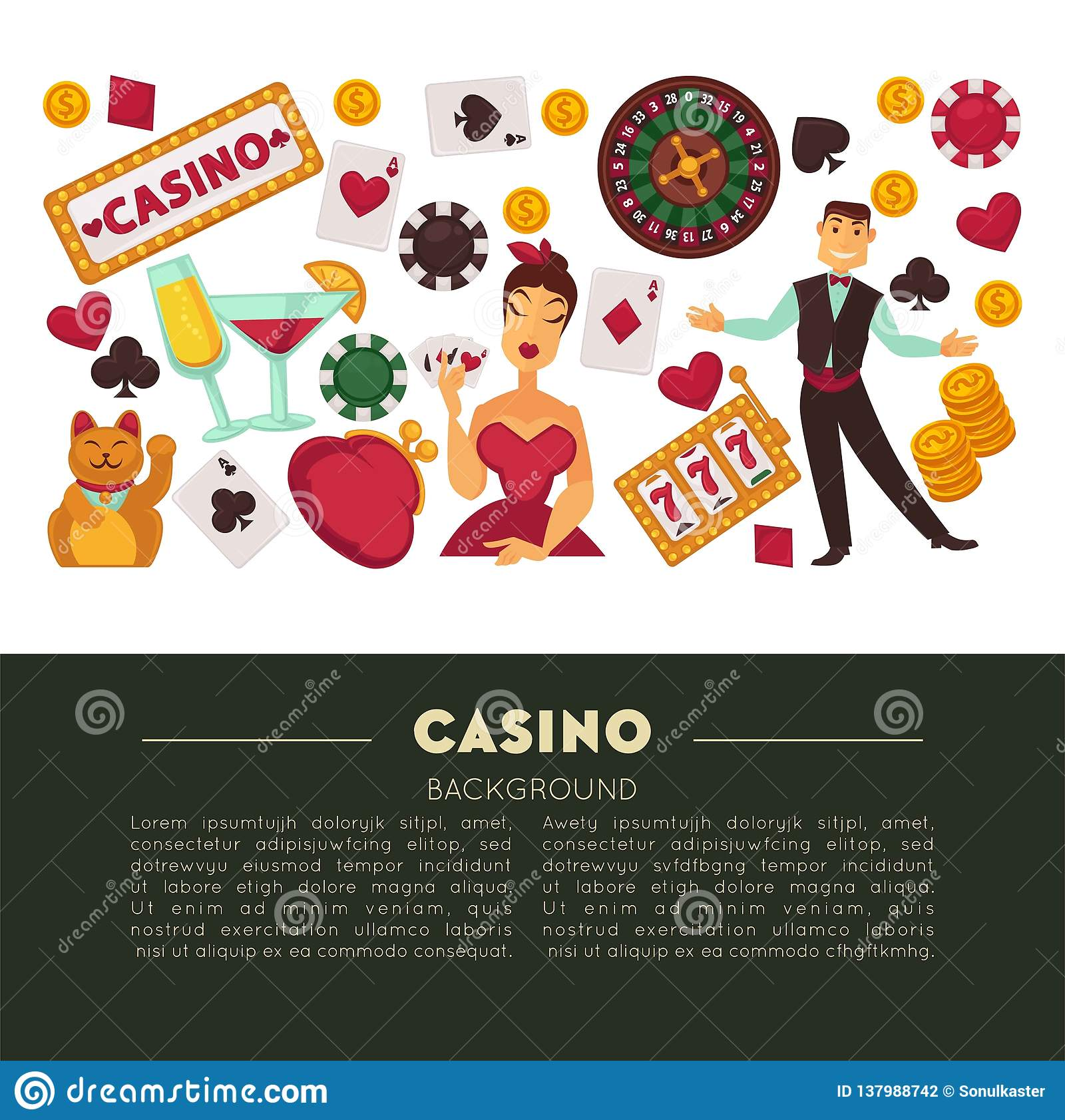 Casino club and gambling roulette and poker game