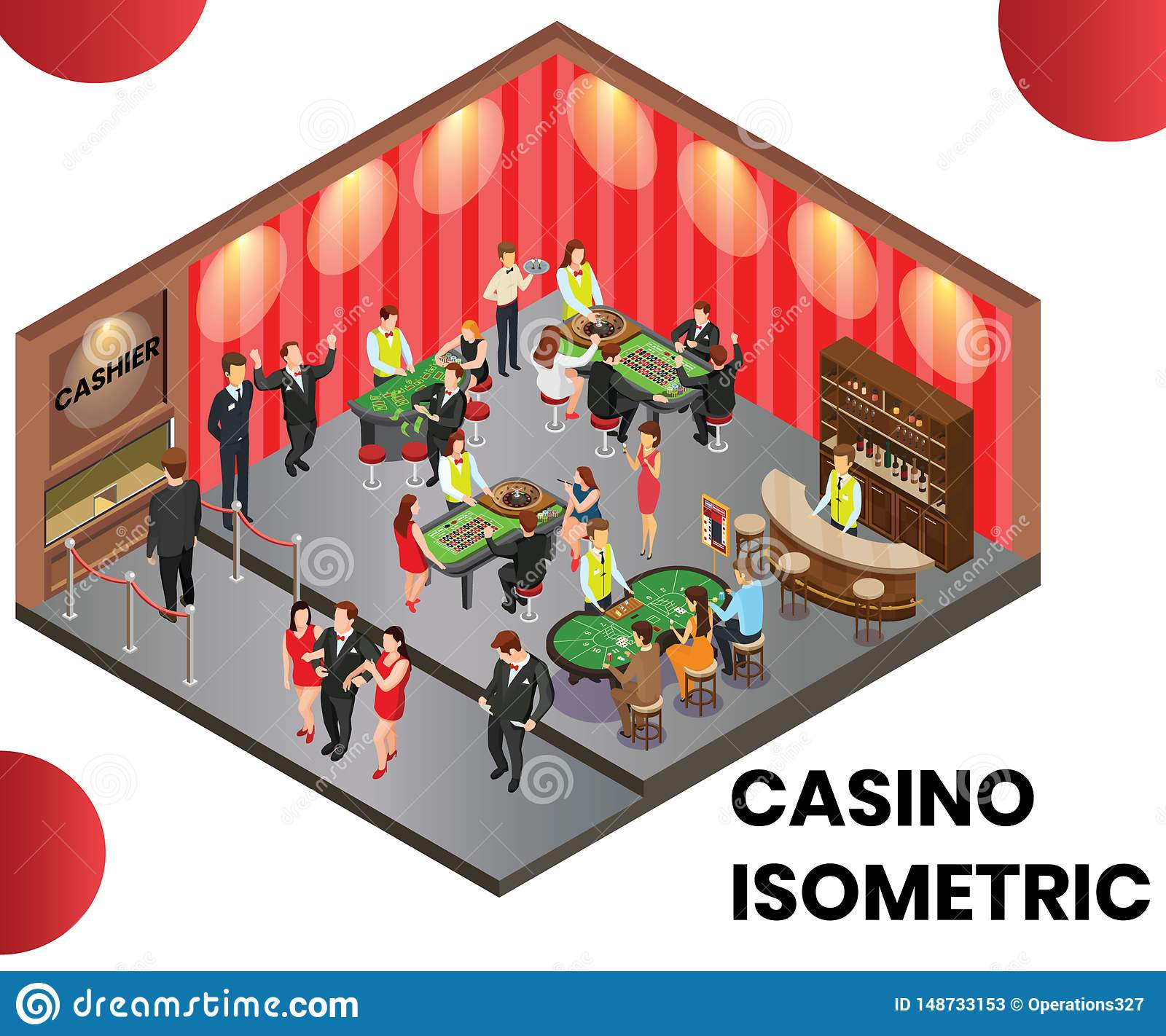 A Casino Club Where people are Playing Isometric Artwork Concept