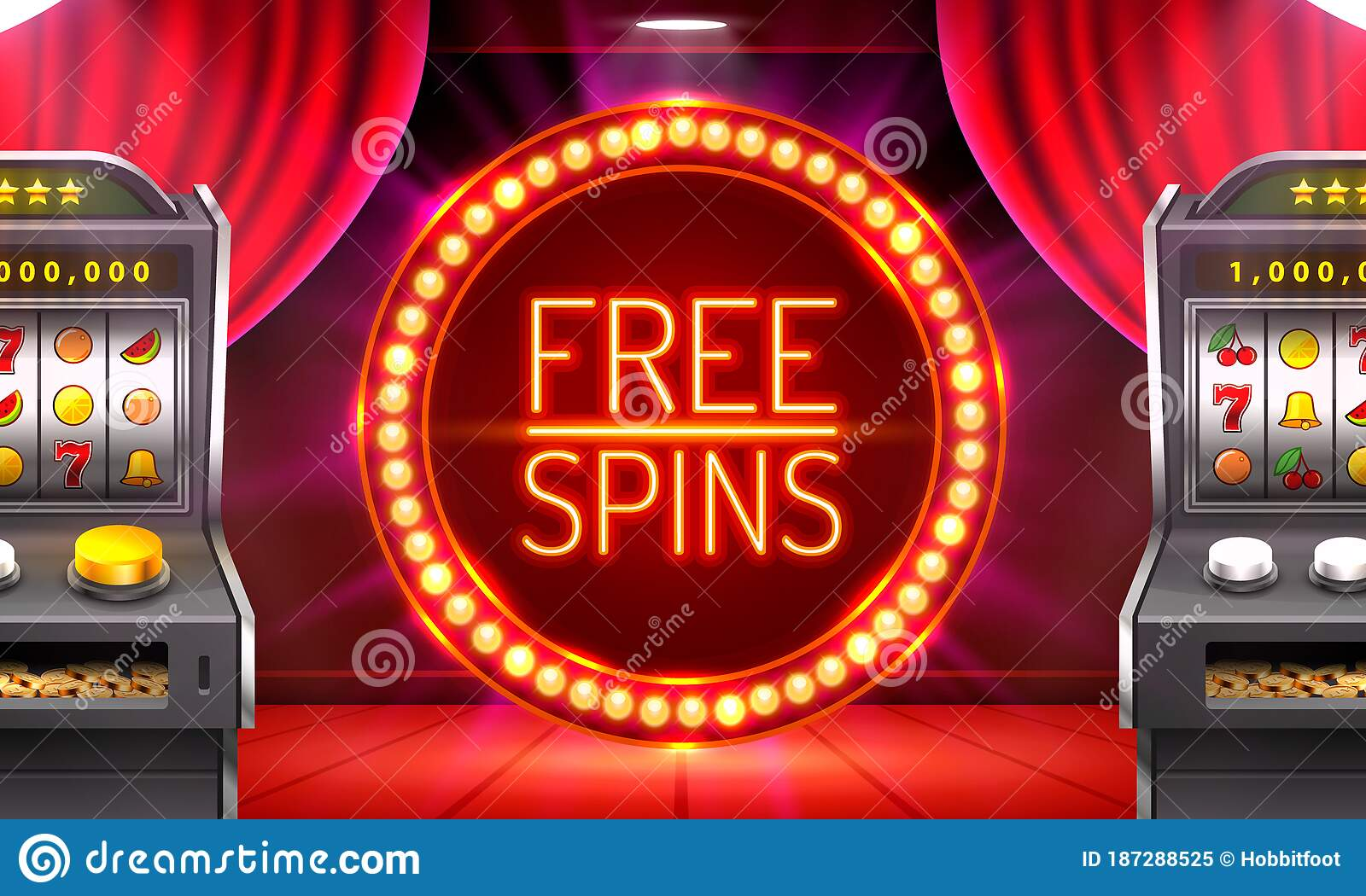 Casino Free Spins 777 Slot Sign Machine Vector Stock Vector Illustration Of Lucky Coin 187288525