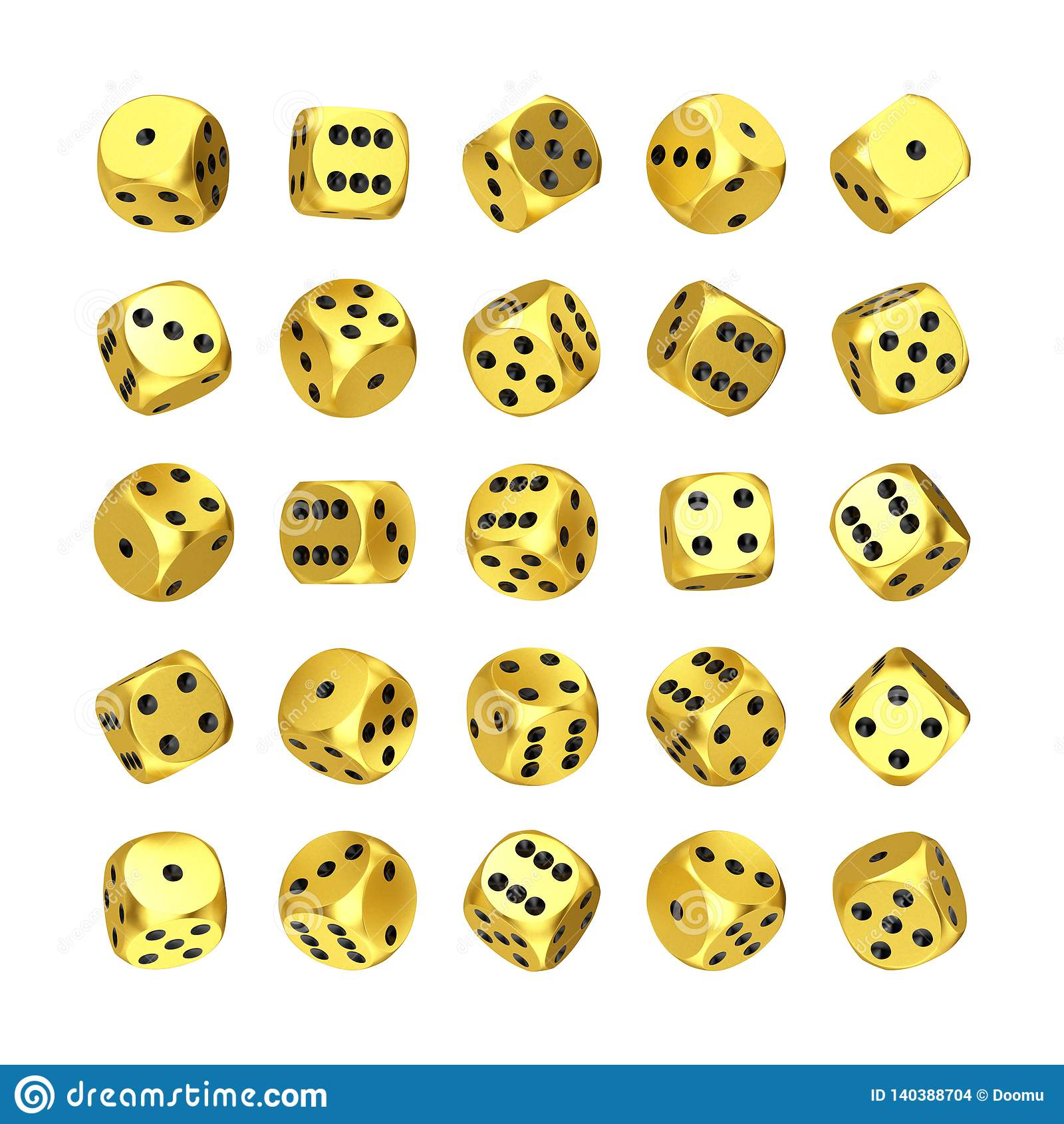 Casino Gambling Concept. Set of Golden Game Dice Cubes in Differetn Position. 3d Rendering