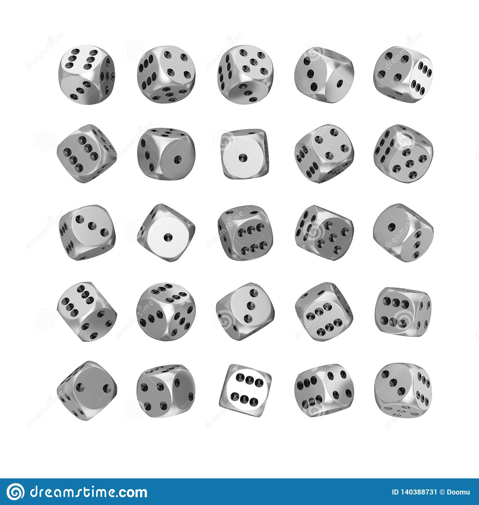 Casino Gambling Concept. Set of Silver Game Dice Cubes in Differetn Position. 3d Rendering