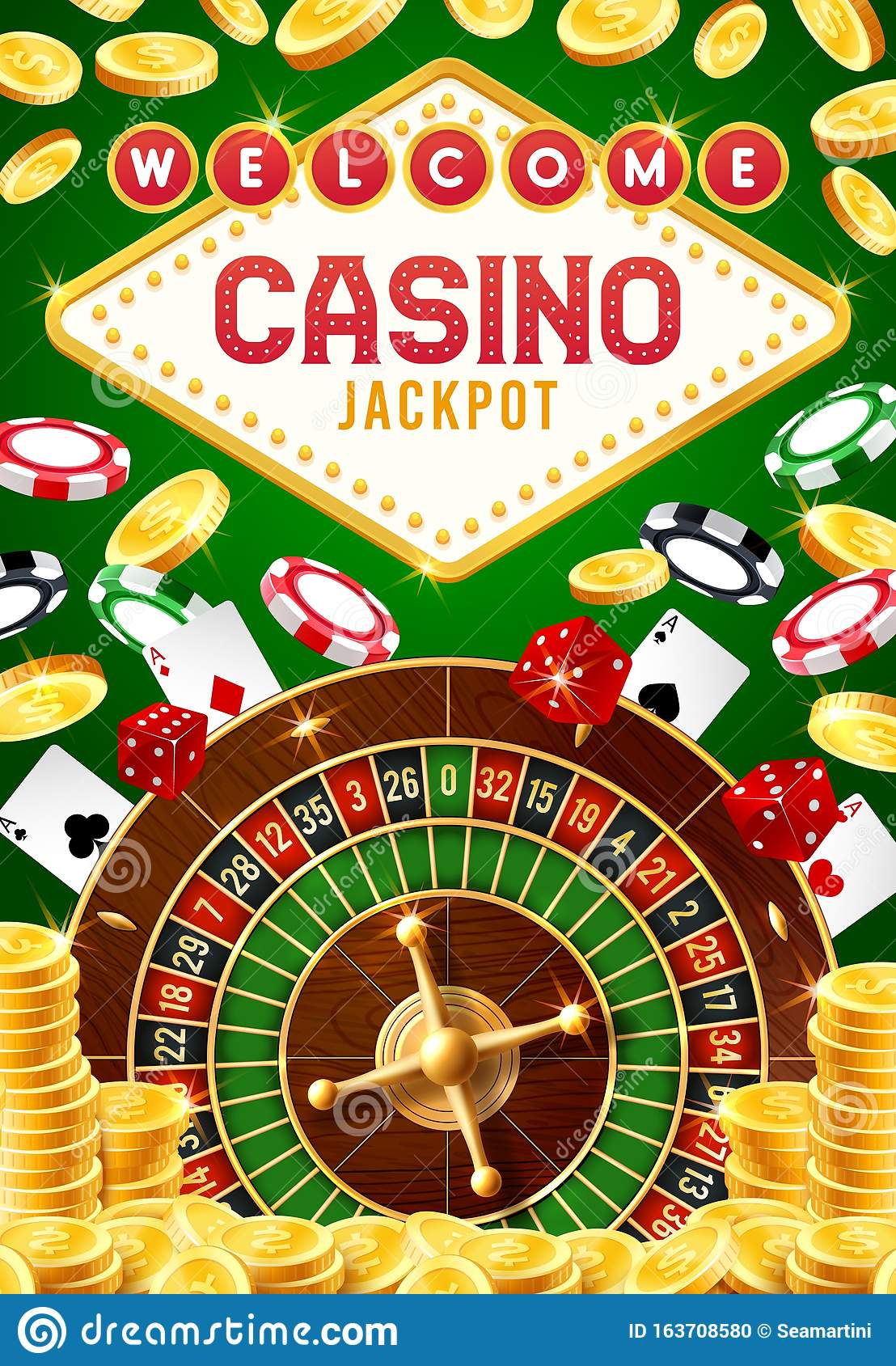 Casino Roulette Chips Dice And Playing Cards Stock Vector Illustration Of Cash Activity 163708580