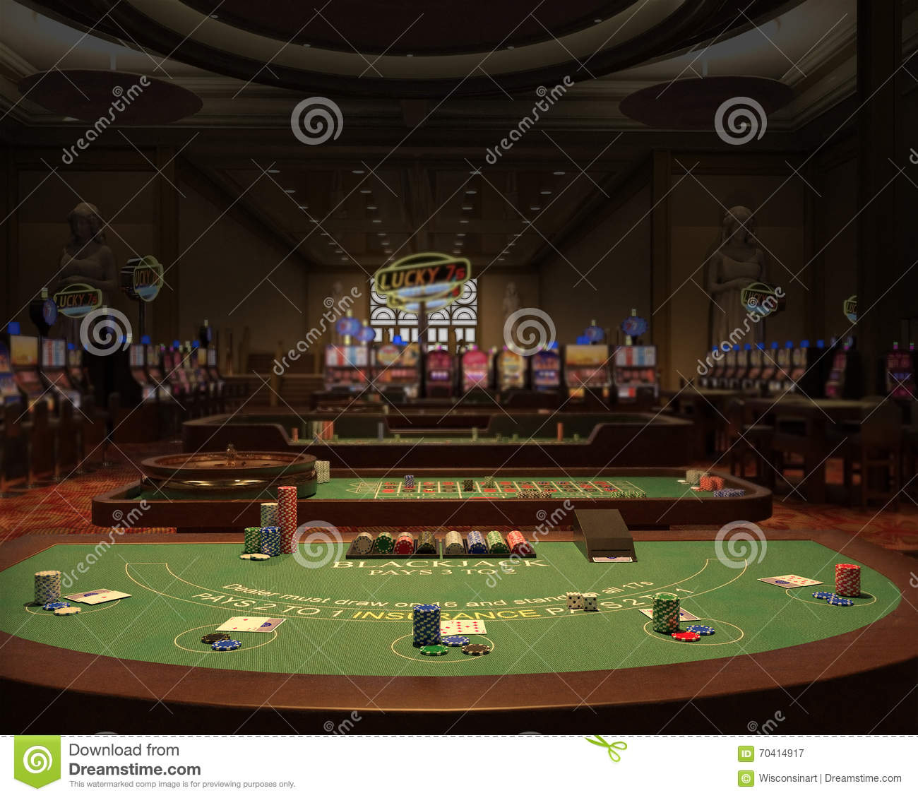 Casino, Gambling Hall, Blackjack Illustration