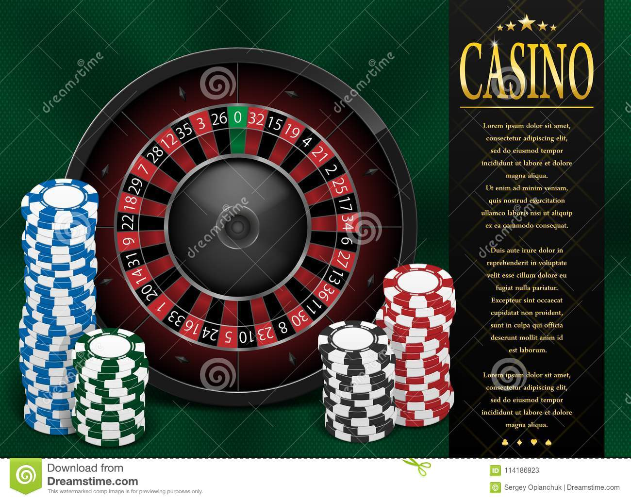 Casino Gambling poster or flyer design. Casino banner template with Roulette Wheel isolated on green background. Playing