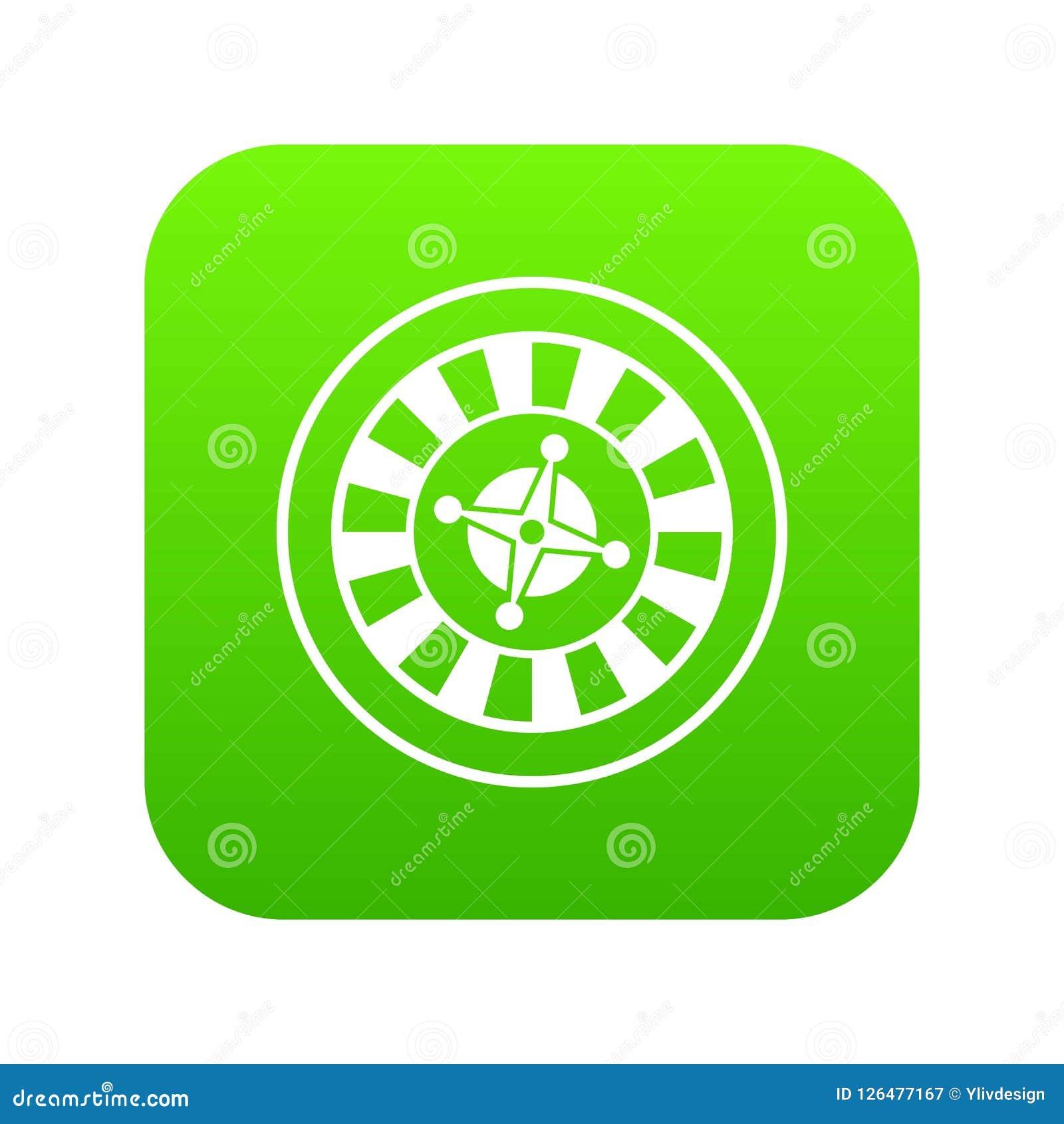 Casino gambling roulette icon digital green