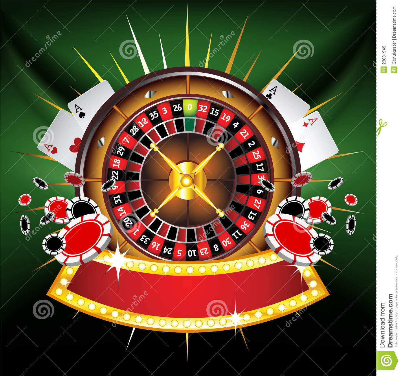 Casino Gold Framed Composition With Roulette Wheel Royalty