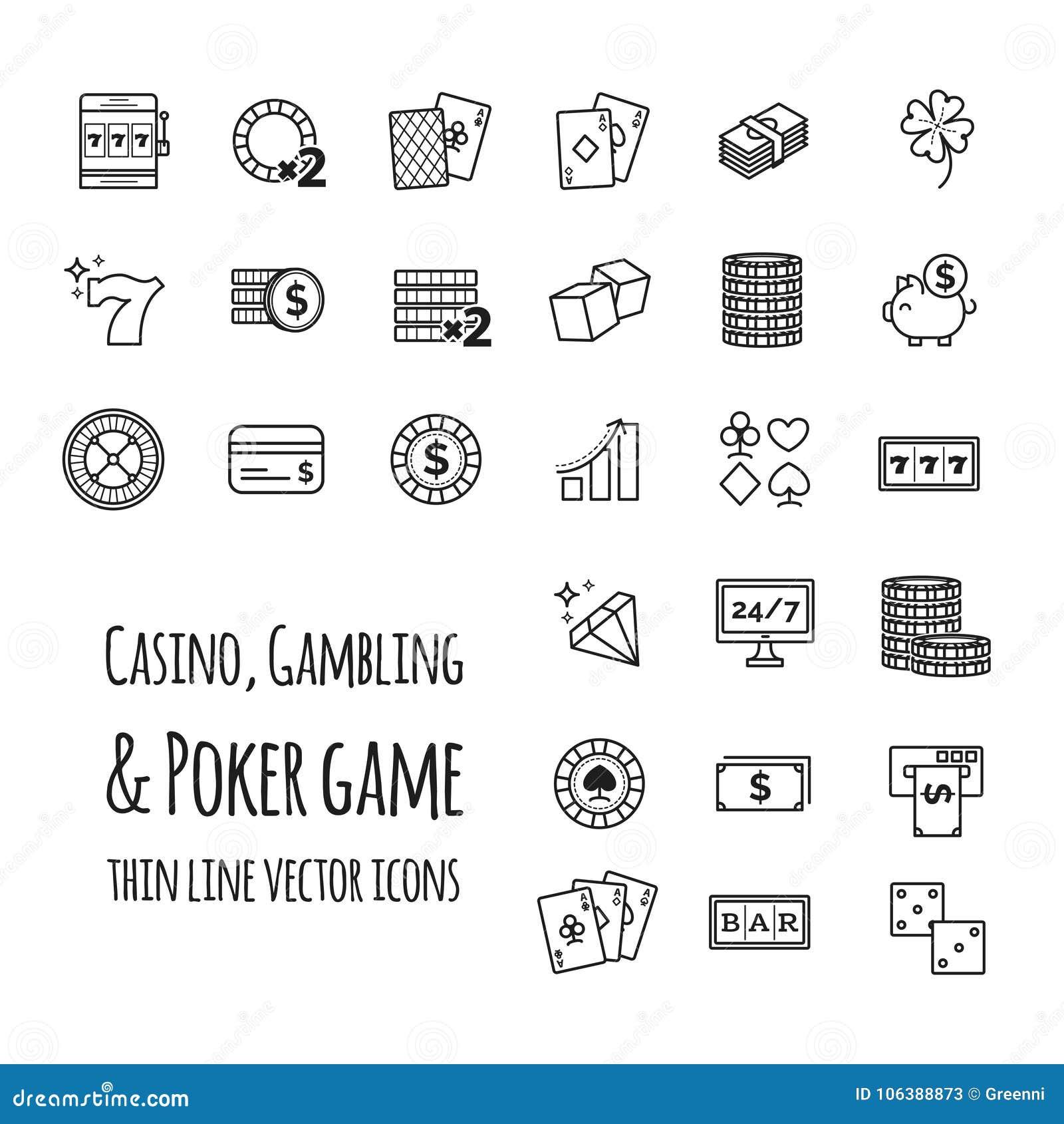 Casino, jouant, icônes réglées de vecteur de jeu de poker
