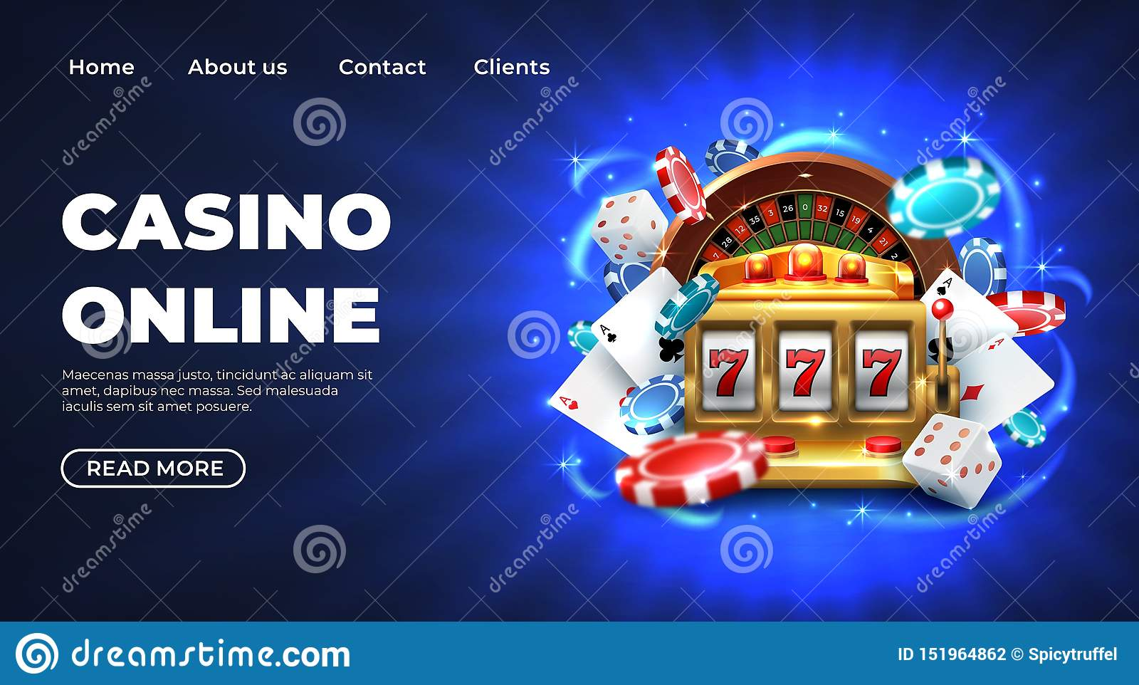 Casino landing page. Gambling roulette website big lucky prize, realistic 3D vector illustration 777 slot machine
