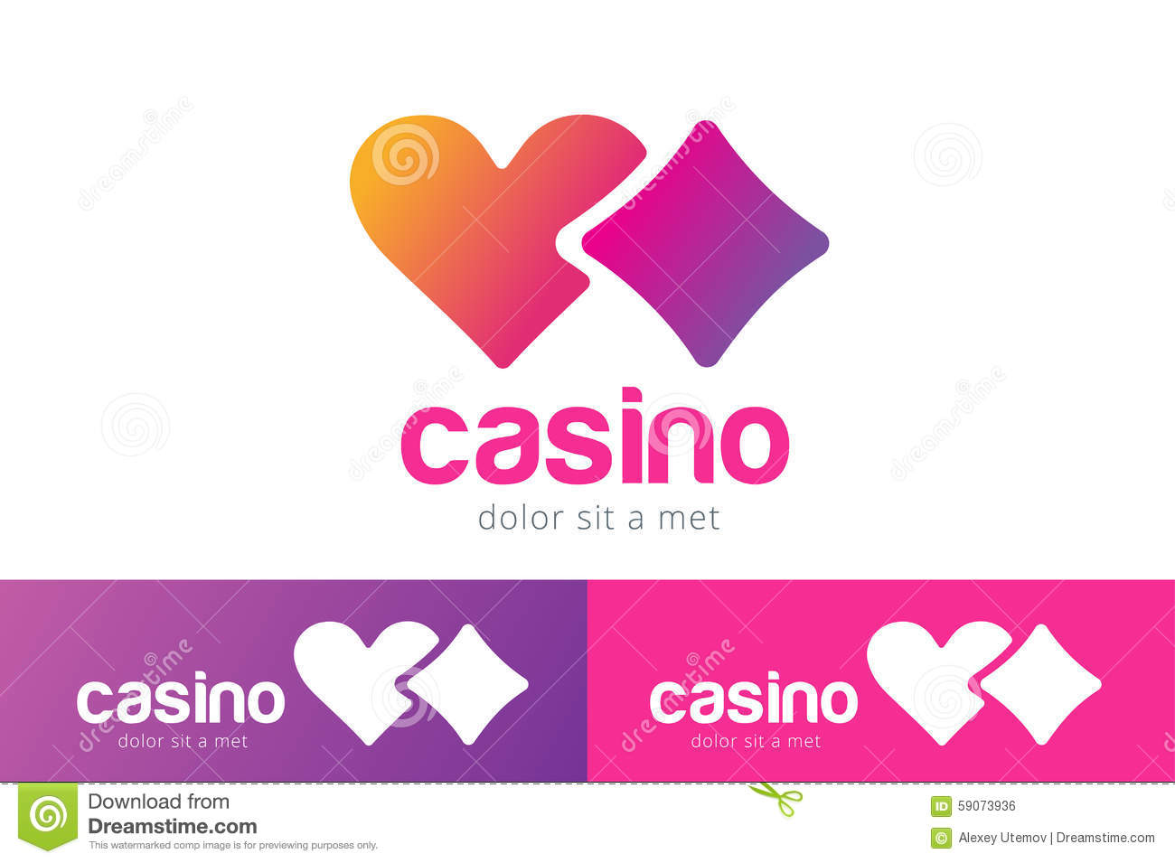 casino logo icon poker cards or game and hearts