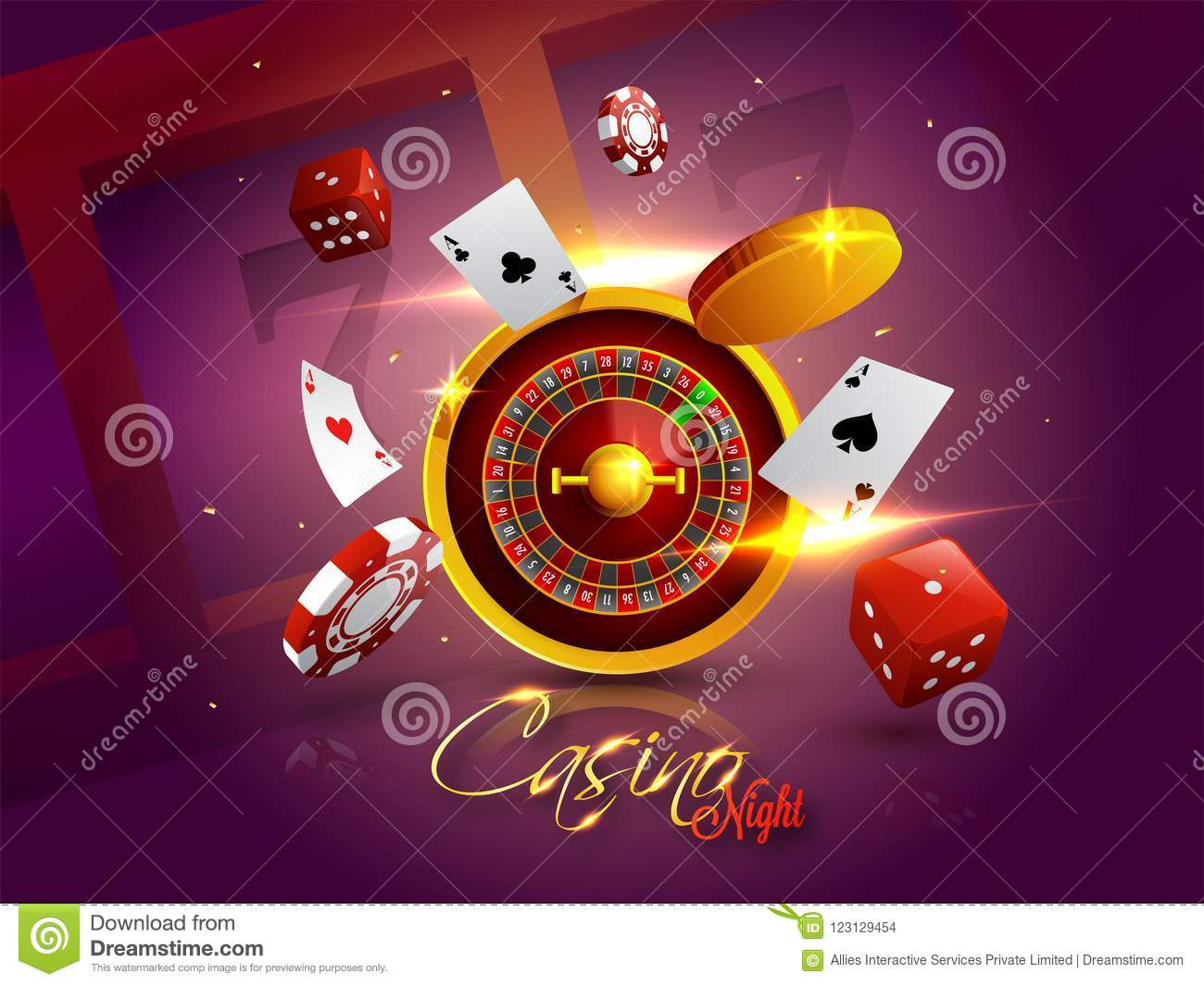 Casino Night background with 3D Chips, Coins, Dice, Roulette.