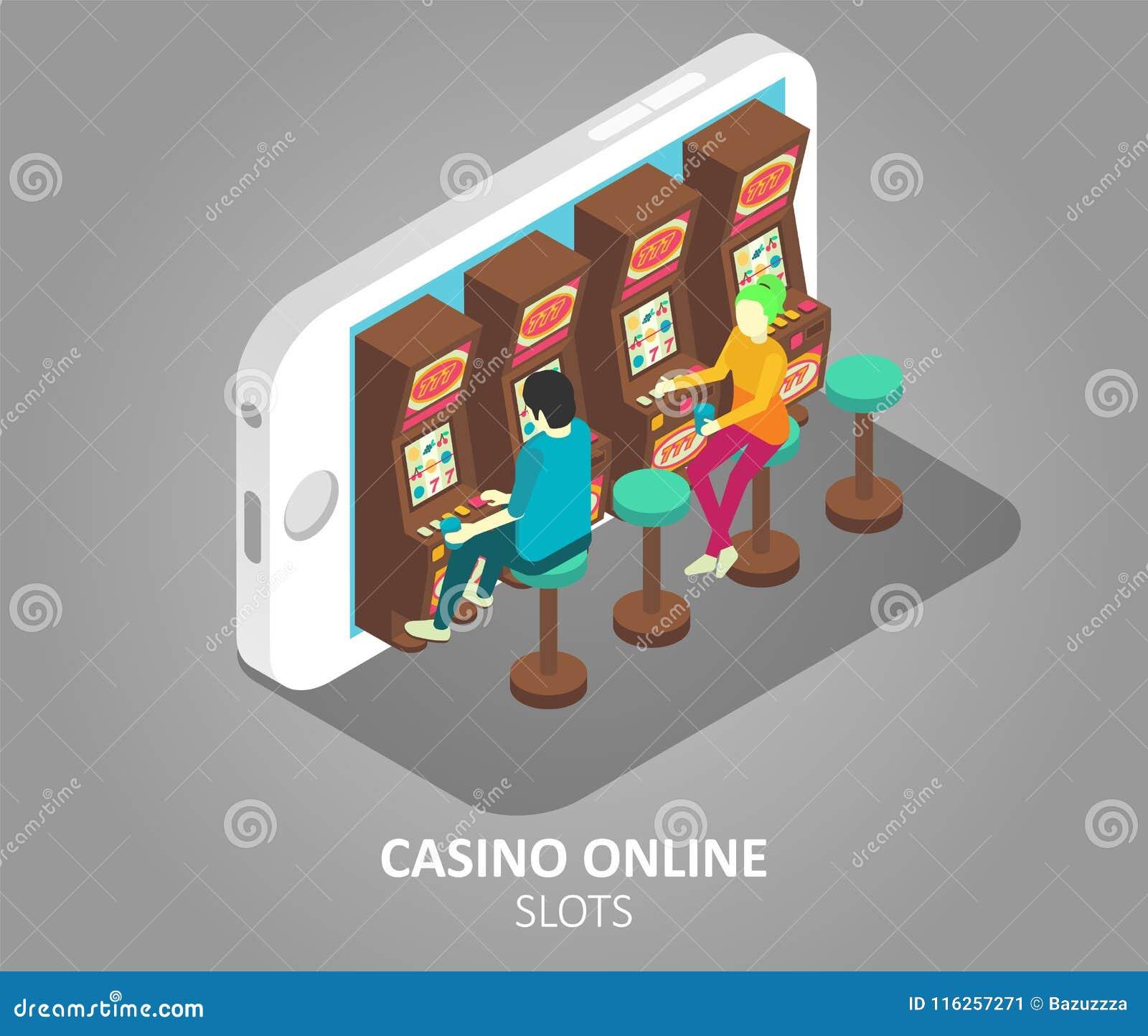 Casino Online Mobile Slots Vector Illustration Stock Vector