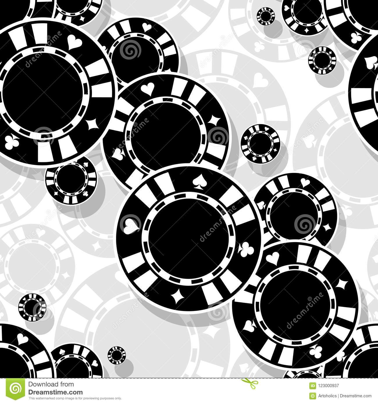 Casino Poker Chips Icon Seamless Pattern Stock Vector
