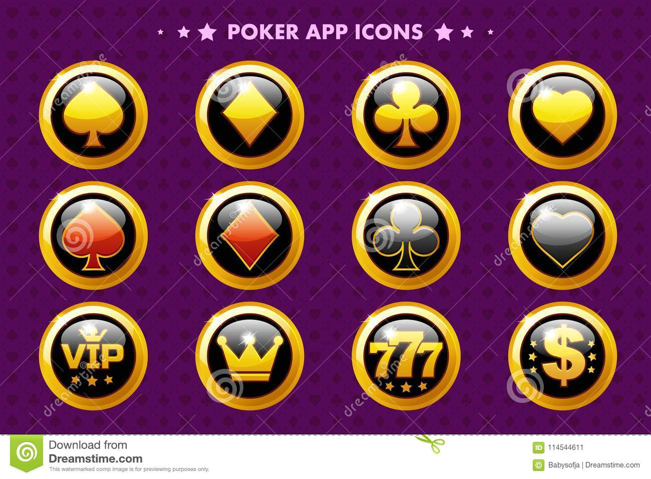 Casino And Poker Golden App Icon Glossy Objects For Asset Game Stock Vector Illustration Of Money Heart 114544611