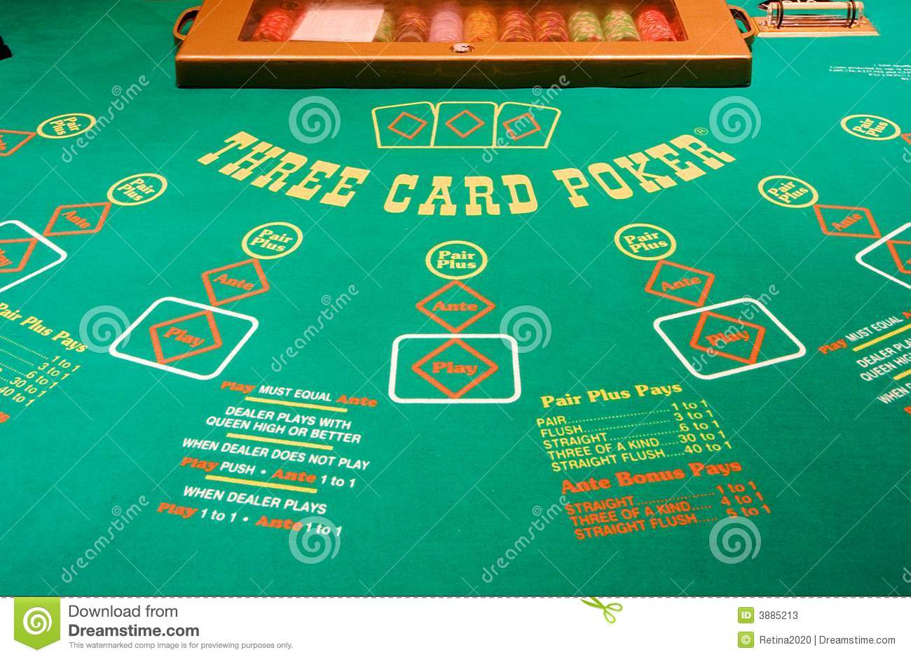 3 card poker table template