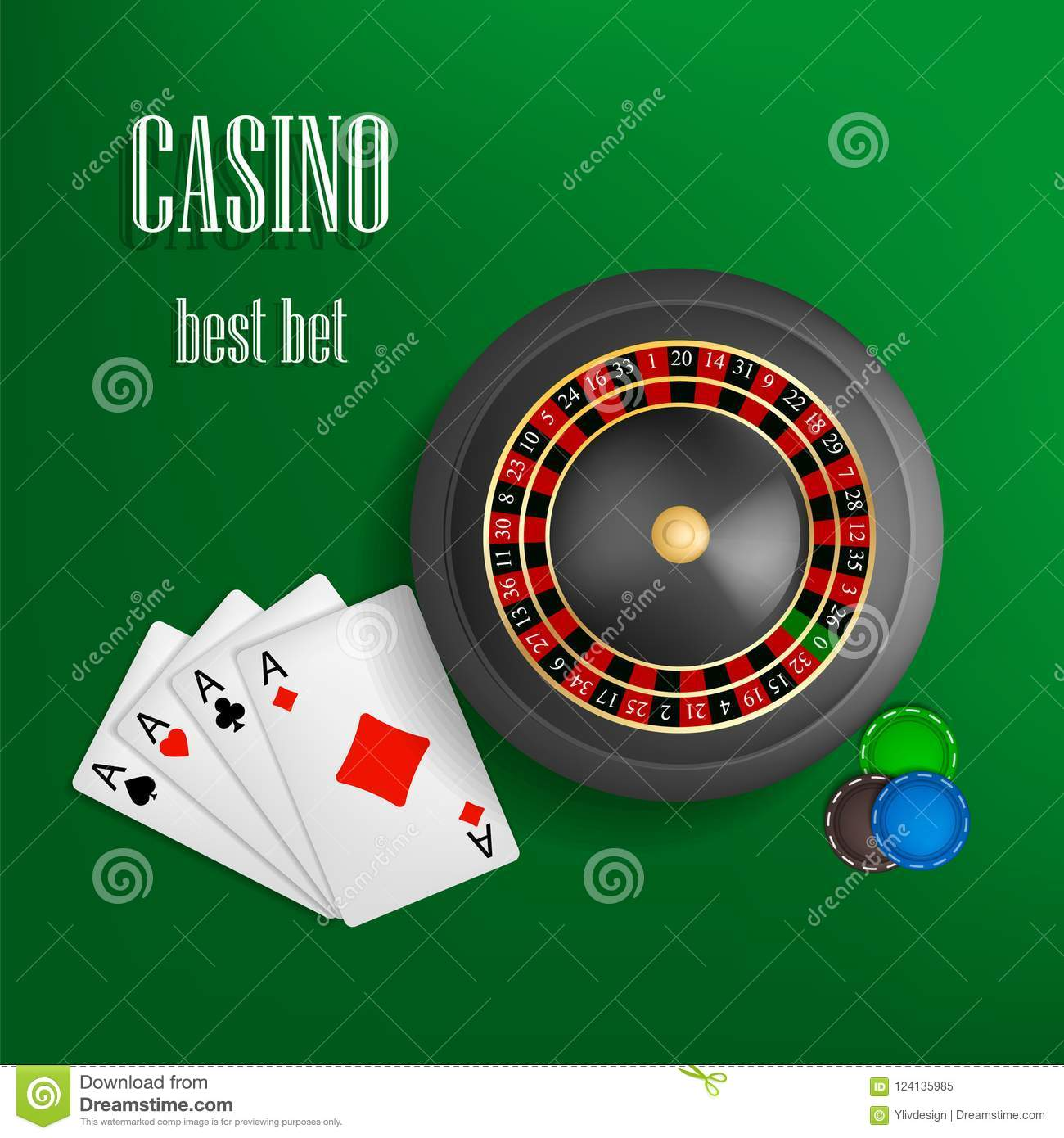 Casino Roulette Best Bet Concept Background Realistic Style Stock