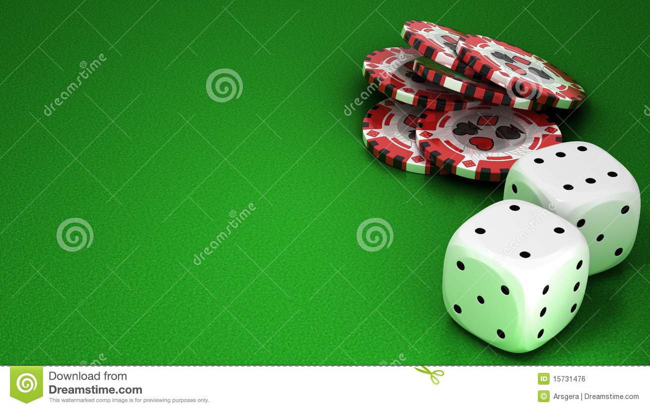 Casino or roulette chips and dies over green