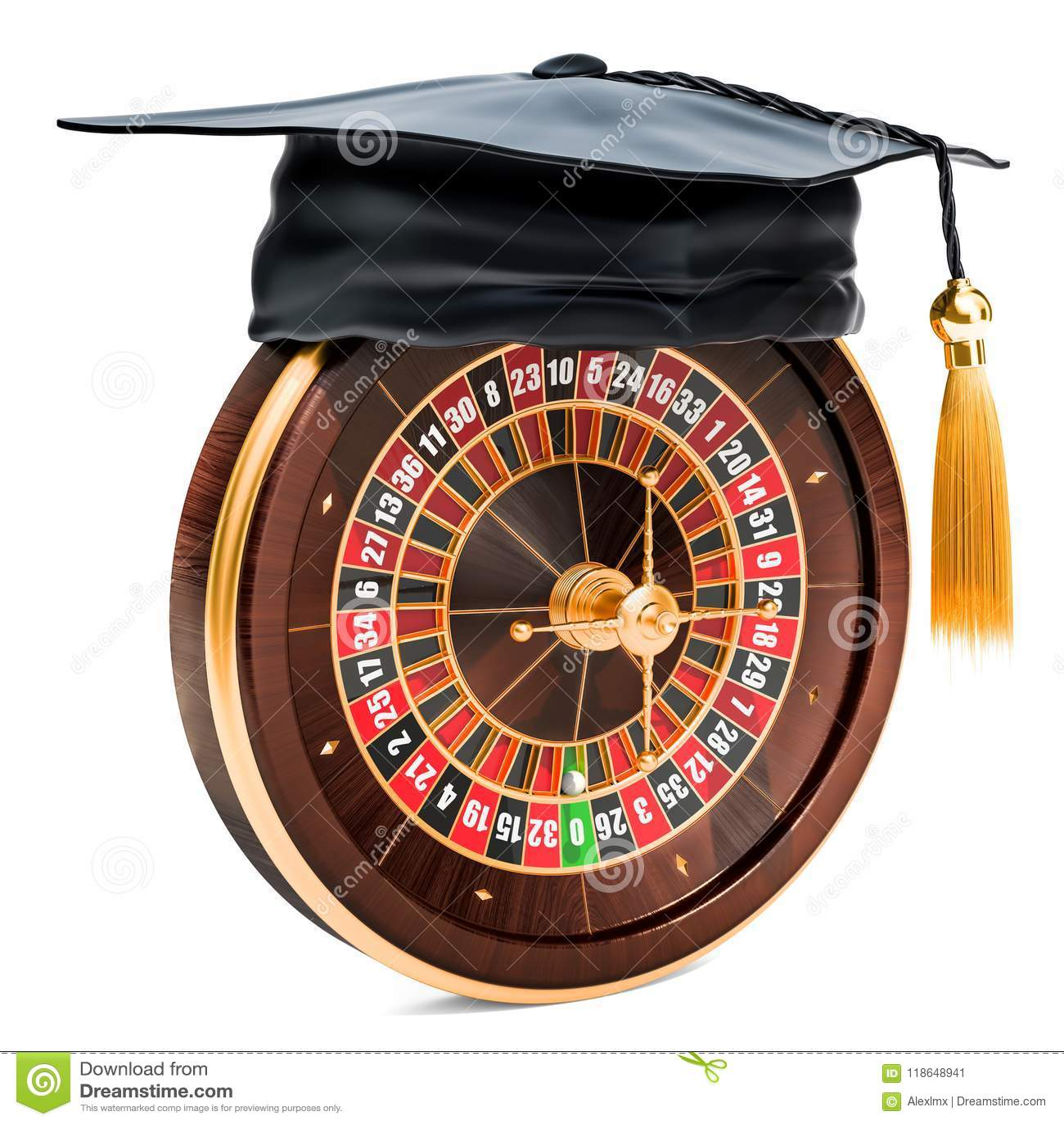 Casino roulette with graduation cap. 3D rendering