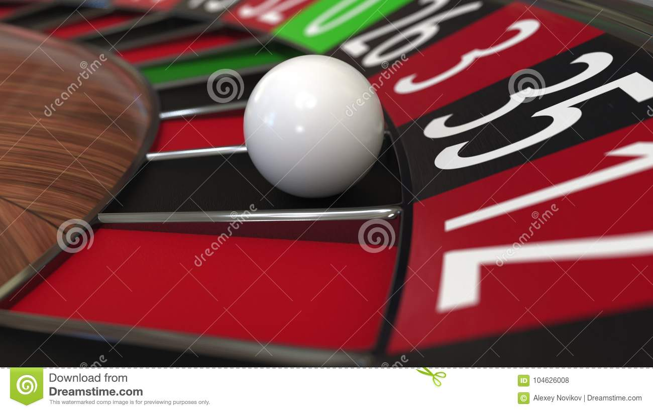 Casino roulette wheel ball hits 35 thirty-five black. 3D rendering