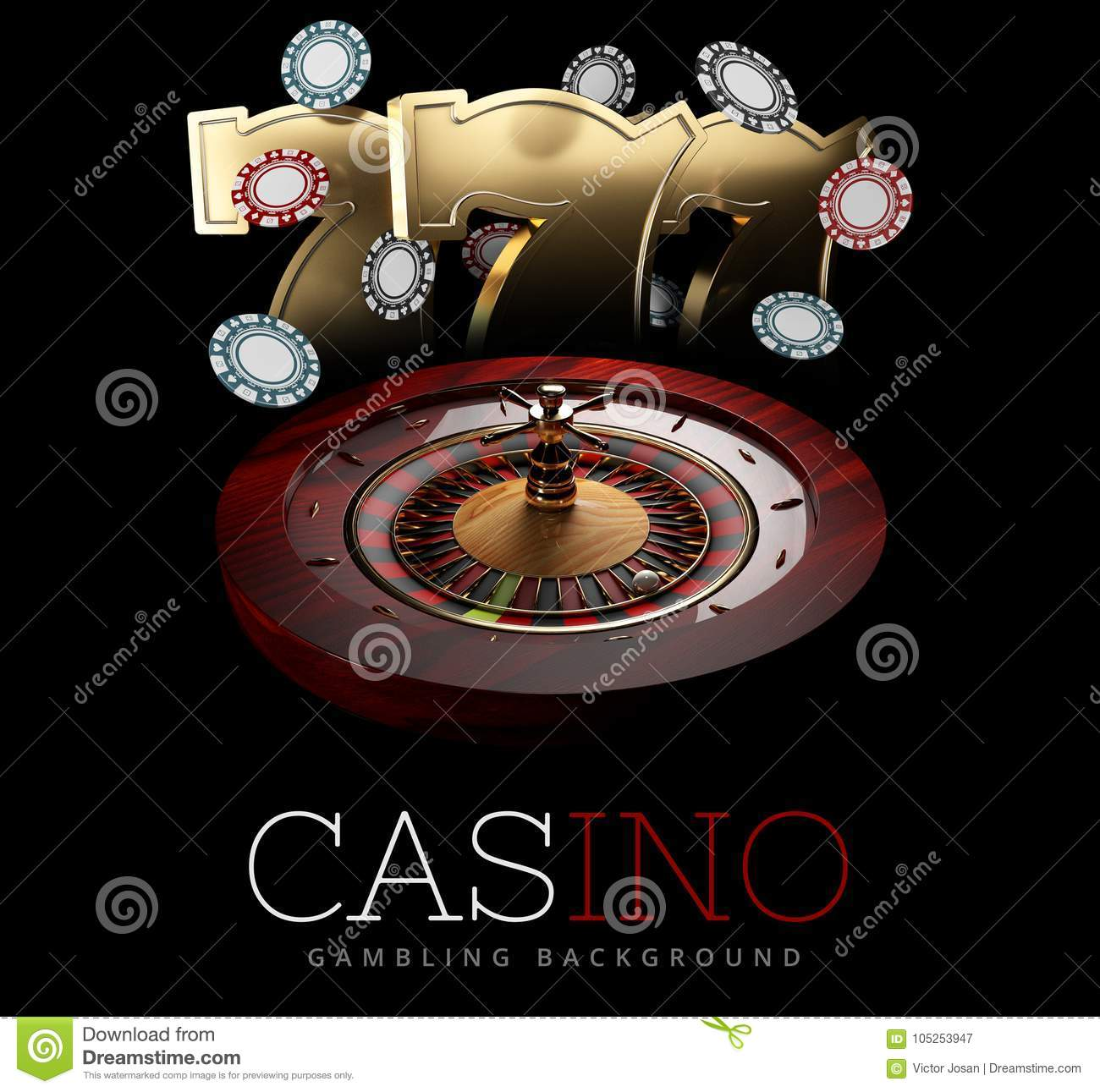 Casino Roulette Wheel with a ball and slot machine signs. isolated black, 3D Rendering