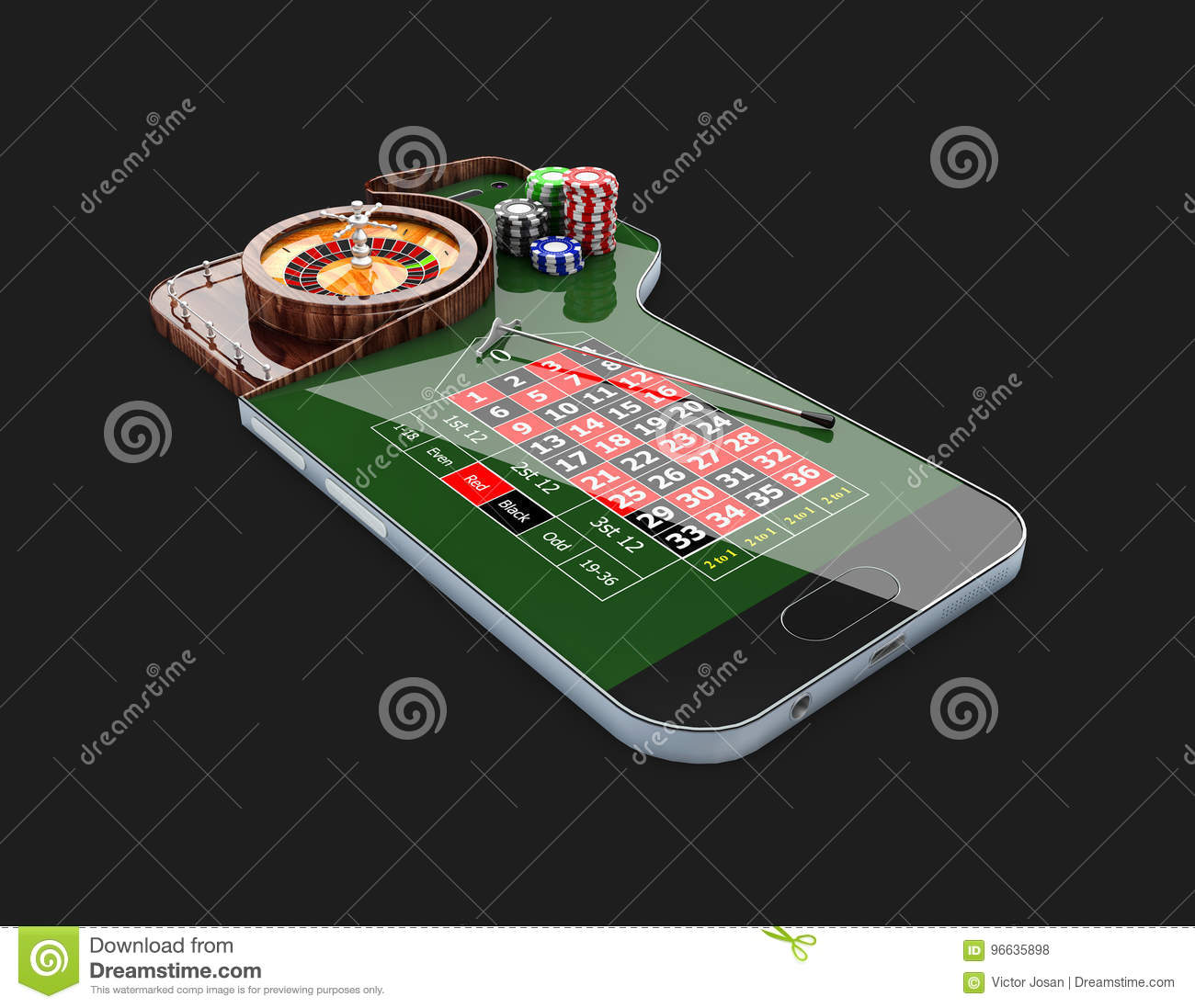 casino roulette wheel with casino chips, on phone screen, 3d illustration