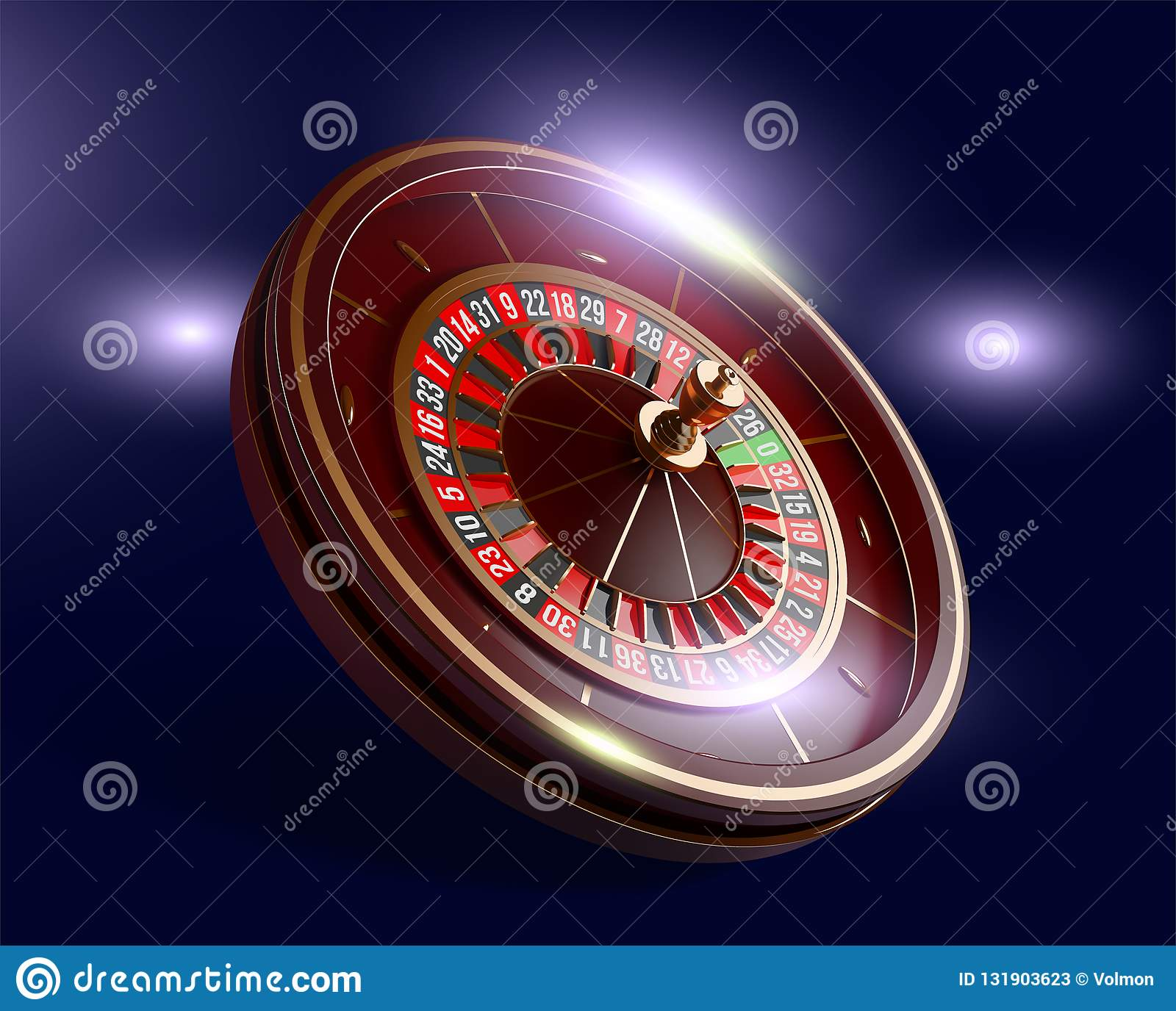 Casino roulette wheel isolated on blue background. 3d realistic vector illustration. Online poker casino roulette