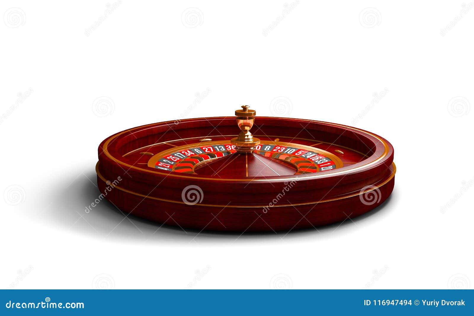 Casino roulette wheel isolated on white background. 3d rendering illustration