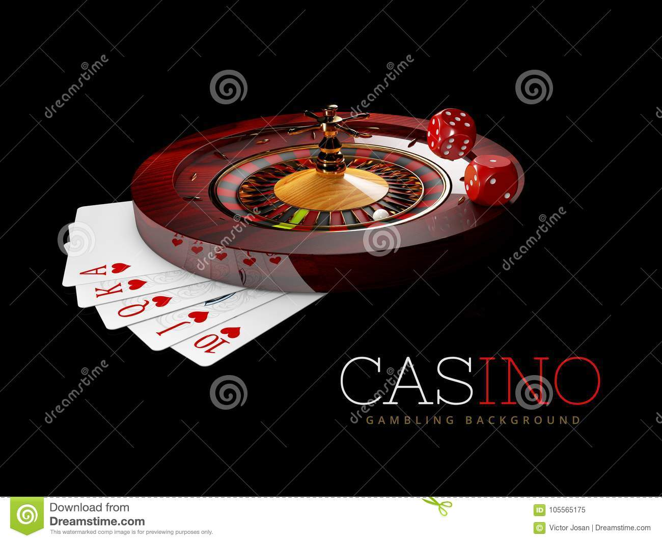 Casino Roulette Wheel with pokers cards and casino Dices. isolated black, 3D Rendering