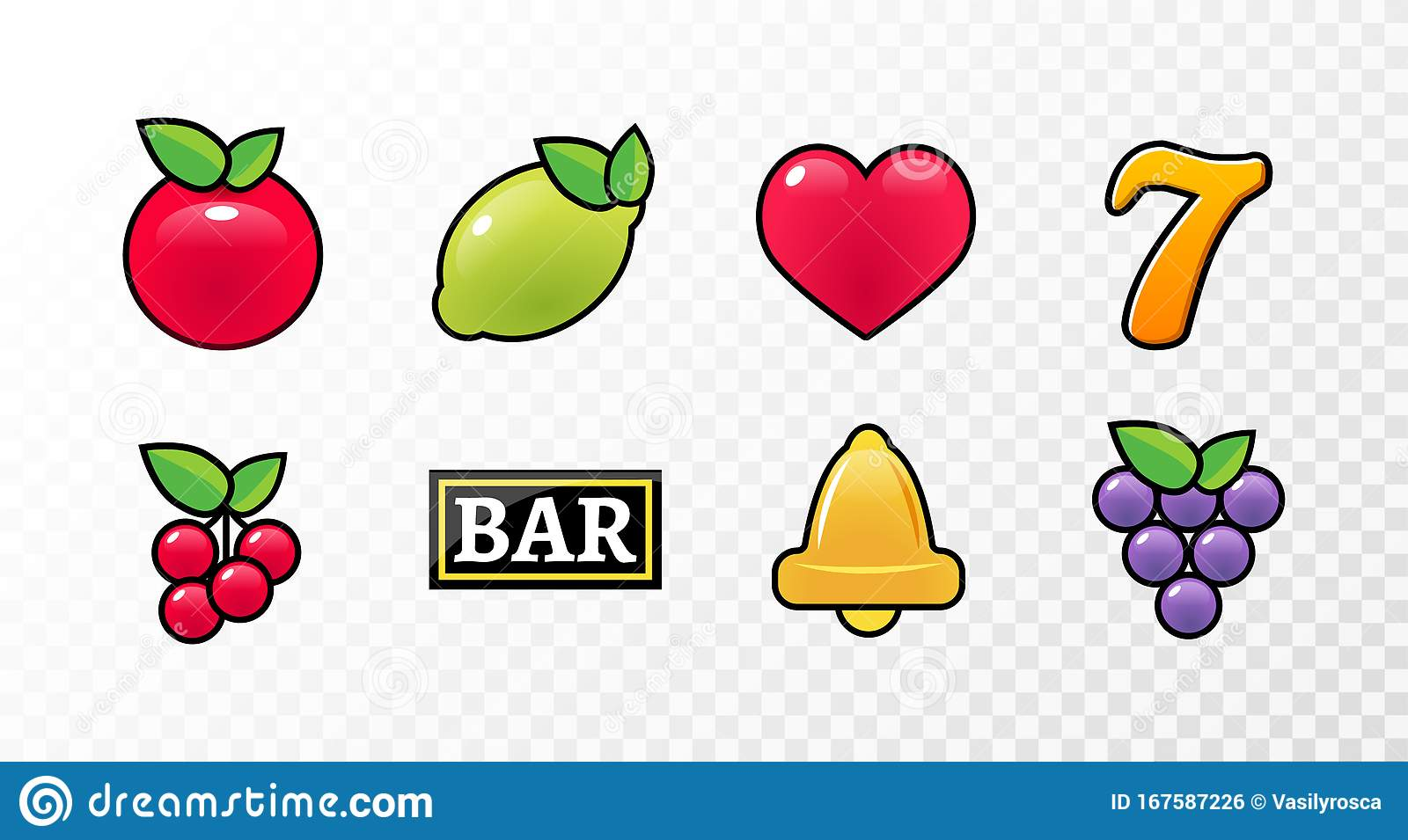 Casino Slot Machine Icon Symbol Vector Fruit Cherry Jackpot Seven Bell Game Lemon Stock Vector Illustration Of Game Lemon 167587226